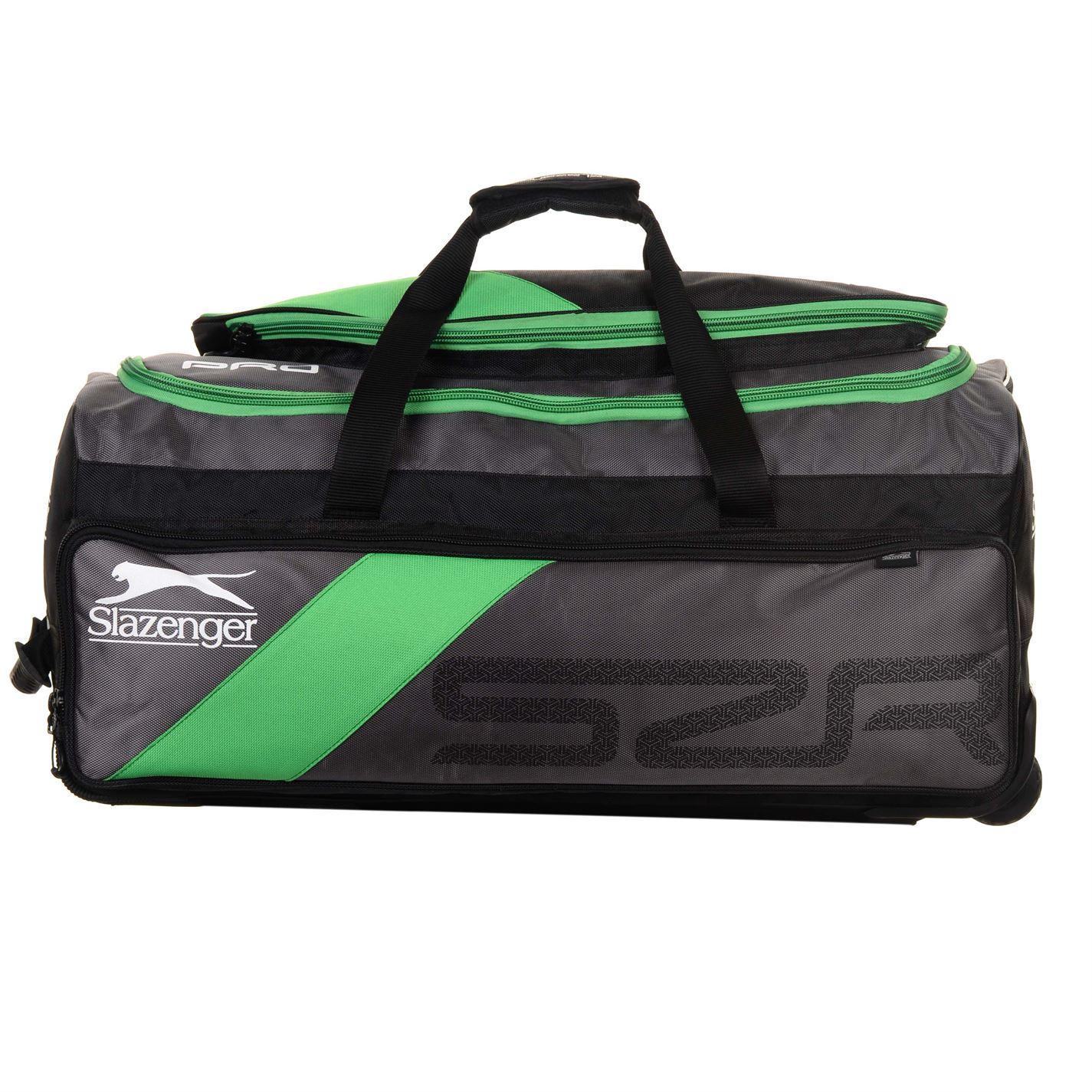 346979f99d ... Slazenger V-Series Pro Wheelie Cricket Bag Black/Green Bat & Pads  Holdall Case ...