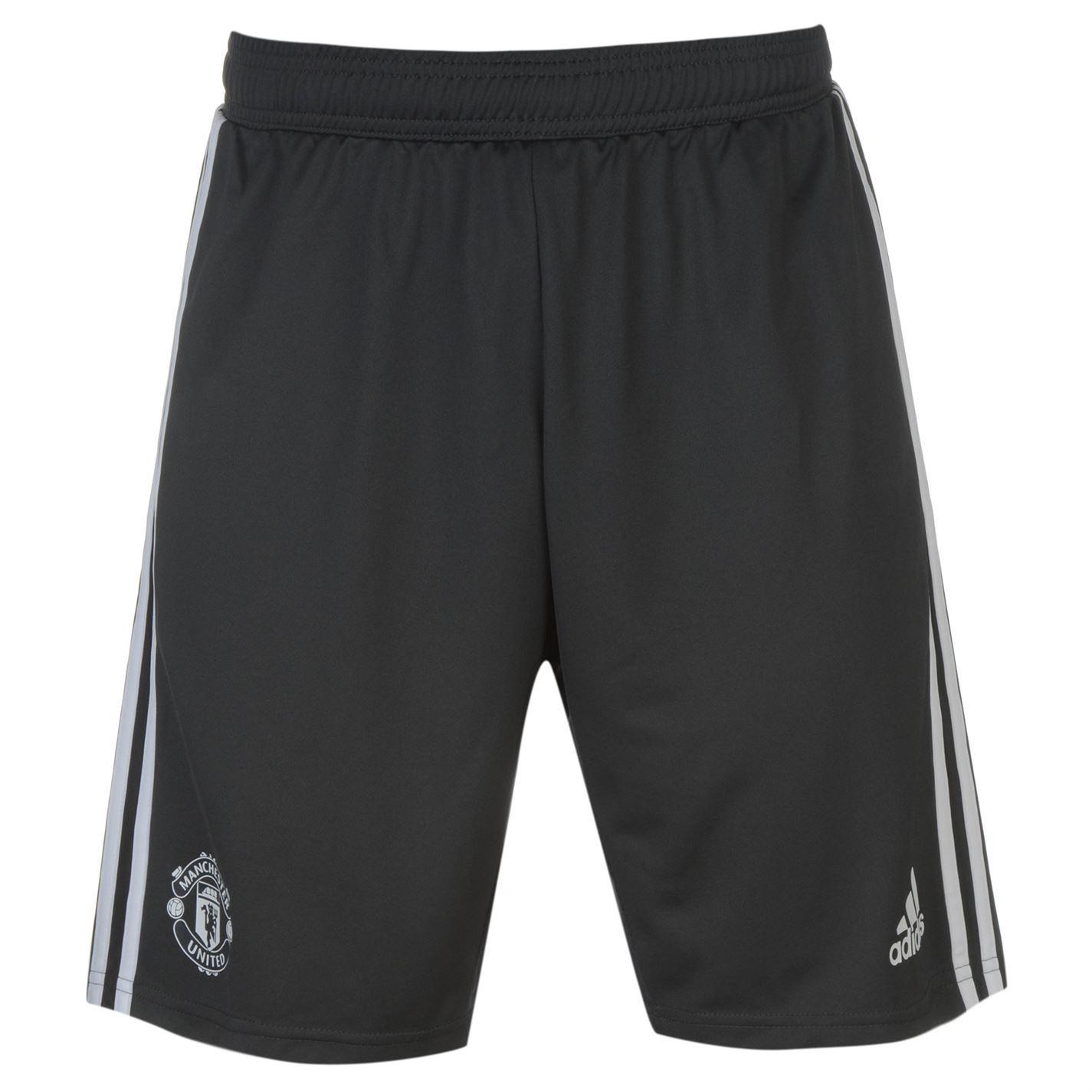 adidas Manchester United Training Shorts Mens Black White Football Soccer  Short 4f16cc4ea1c52