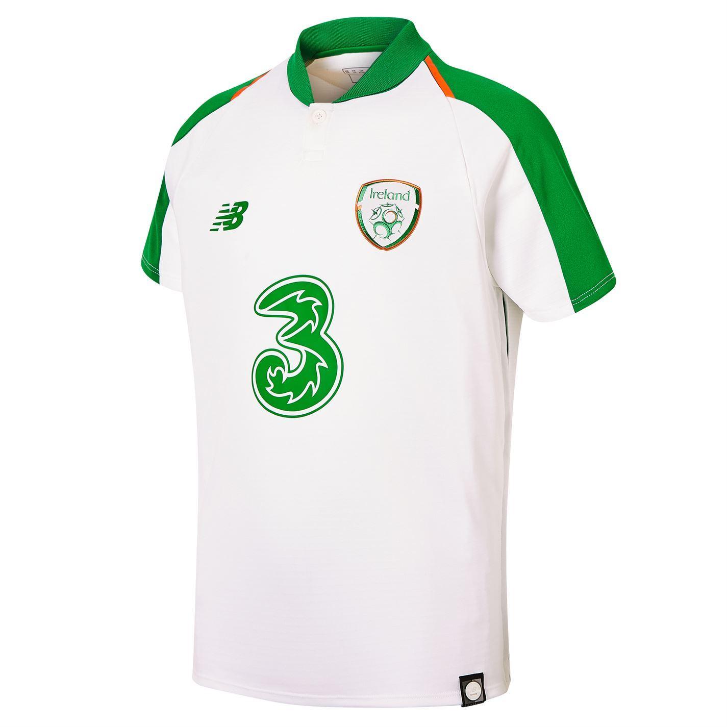 innovative design a1a03 af7d6 Details about New Balance Ireland Away Jersey 2018-19 Juniors White  Football Soccer Shirt Top
