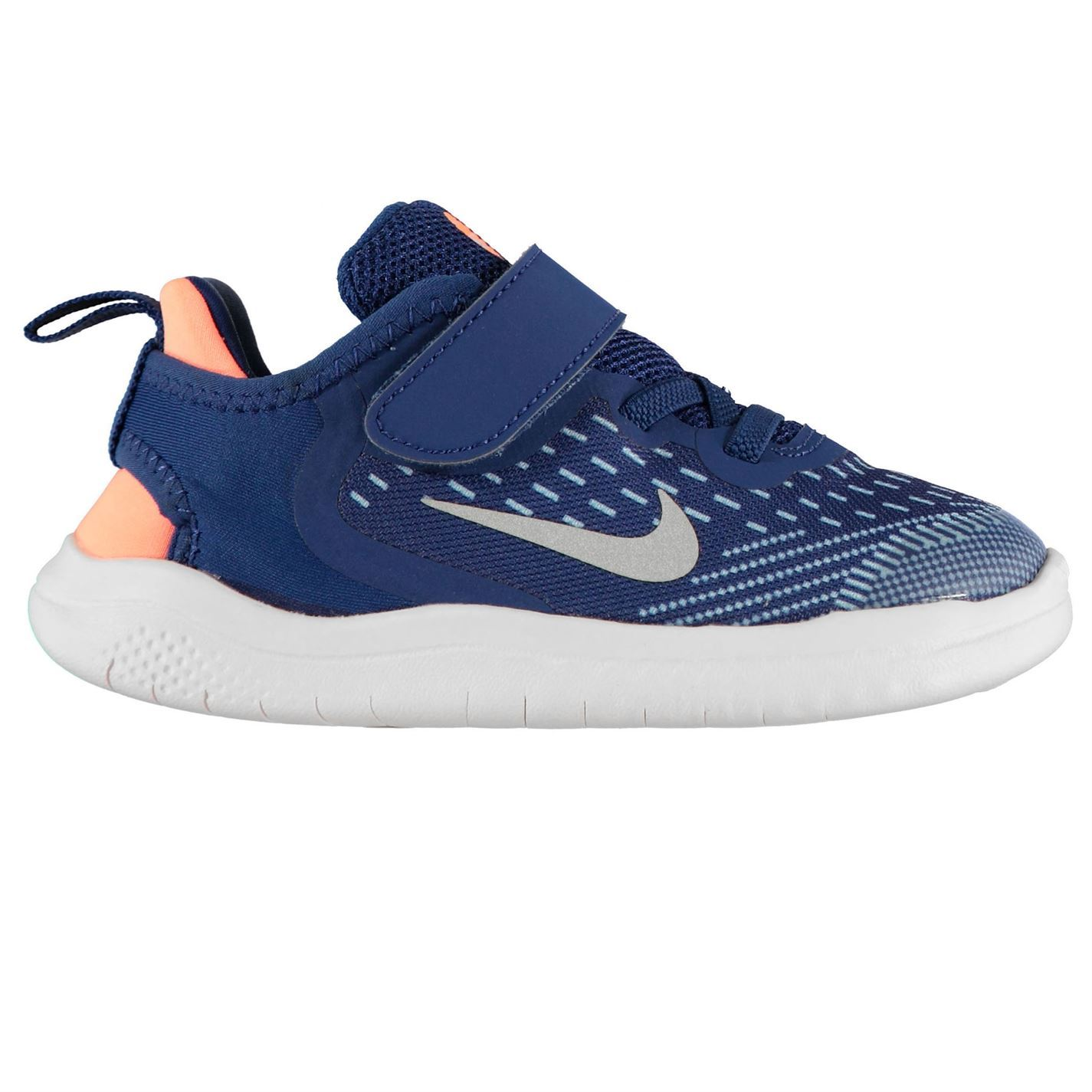 a7d3be7b09 Details about Nike Free RN 2018 Infants Trainers Boys Blue/Silver Shoes  Footwear