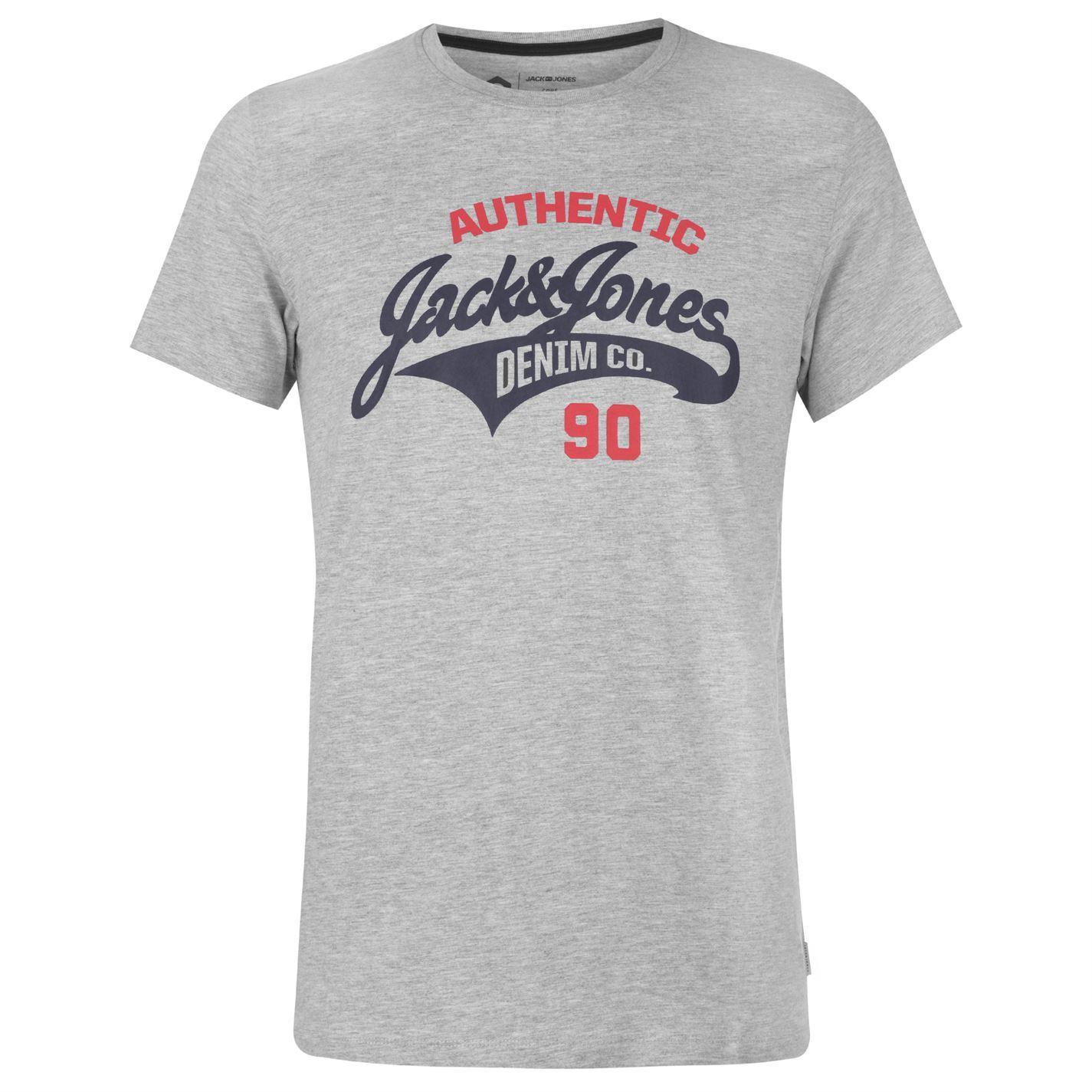 Jack-and-Jones-Core-Heritage-Logo-T-Shirt-Mens-Tee-Shirt-Top thumbnail 3