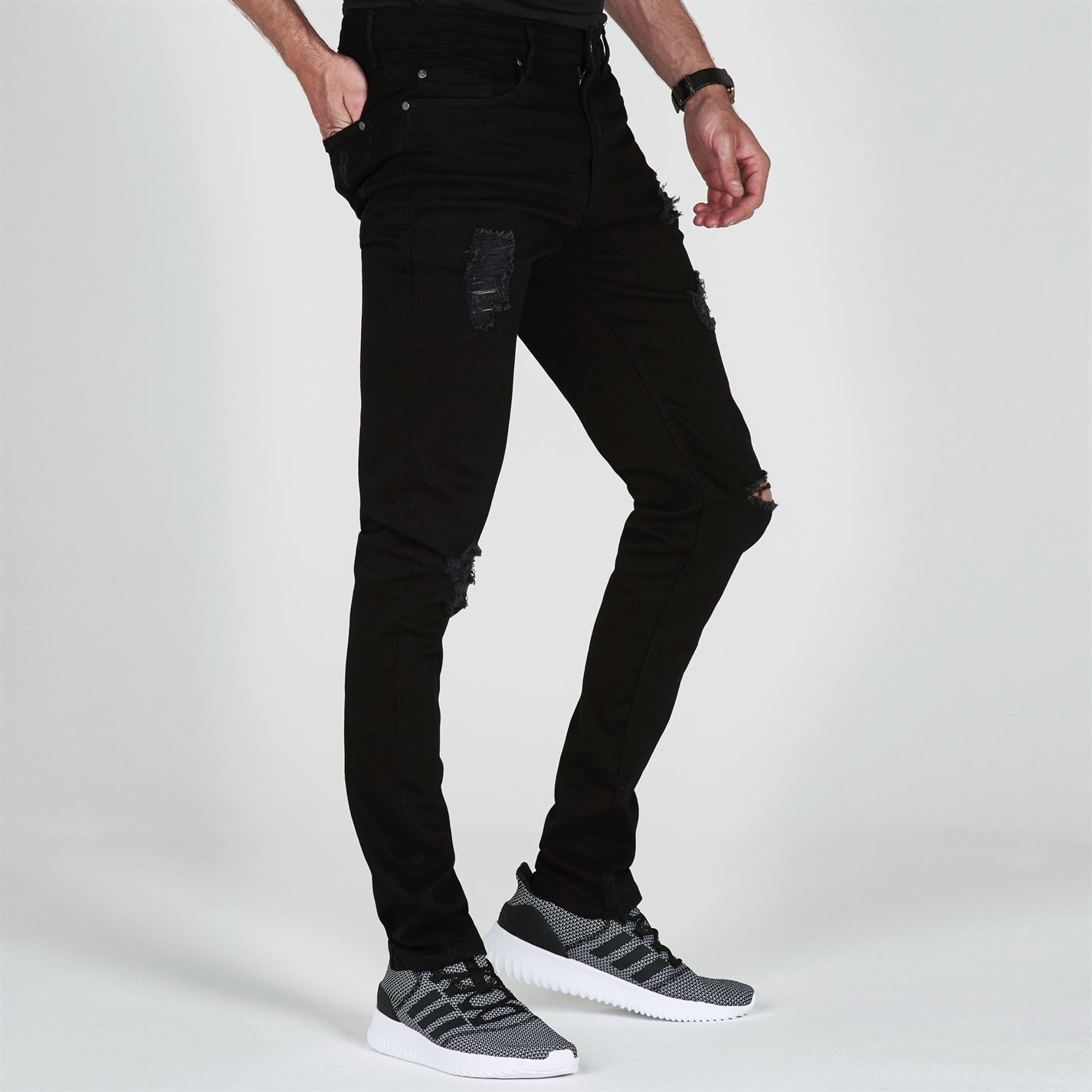 Jeans-Denim-Firetrap-Skinny-Mens-Trouser-Pants-Black thumbnail 8
