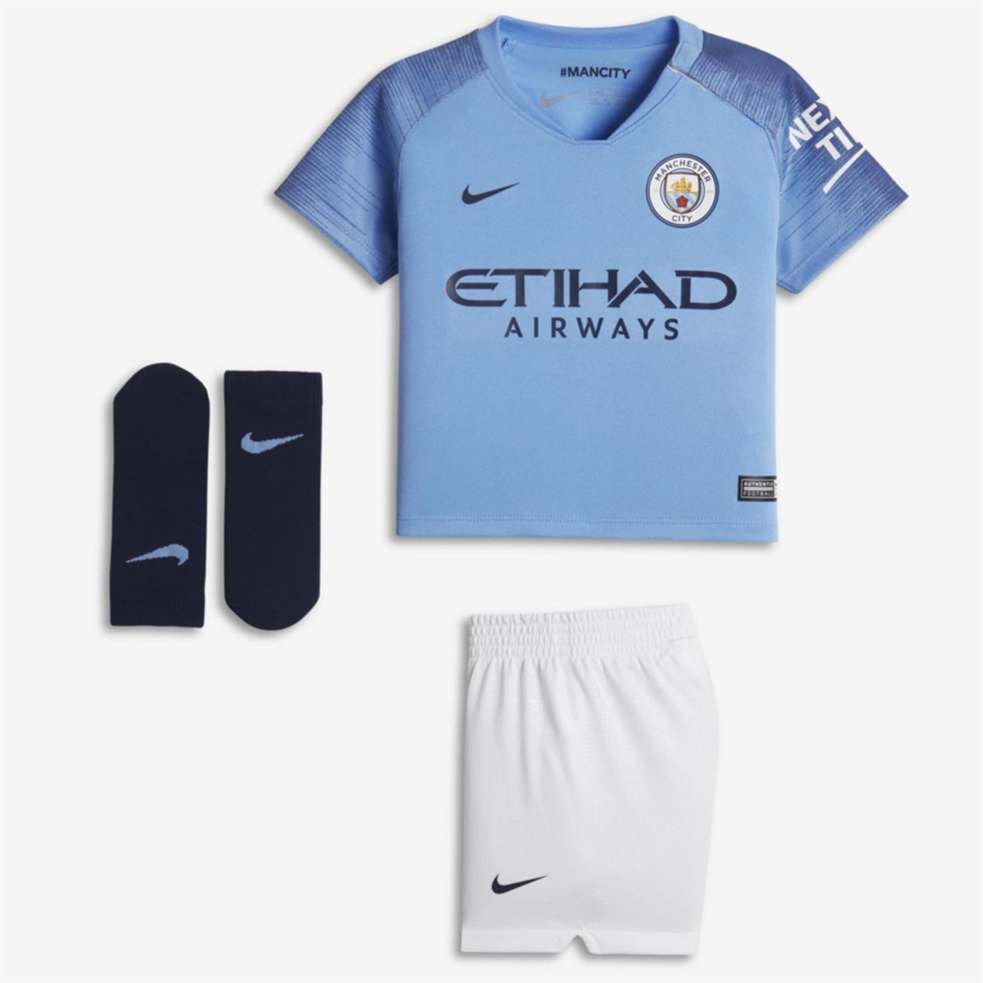 quality design d68d0 5844c Details about Nike Manchester City Home Baby Kit 2018 19 Infants Blue  Football Soccer Strip