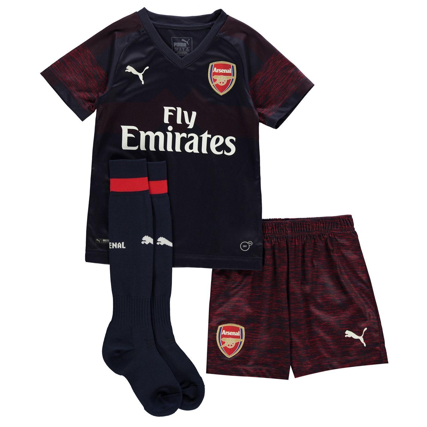 0733838fa63 Puma Arsenal Away Mini Kit 2018 2019 Infants Navy Football Soccer Strip