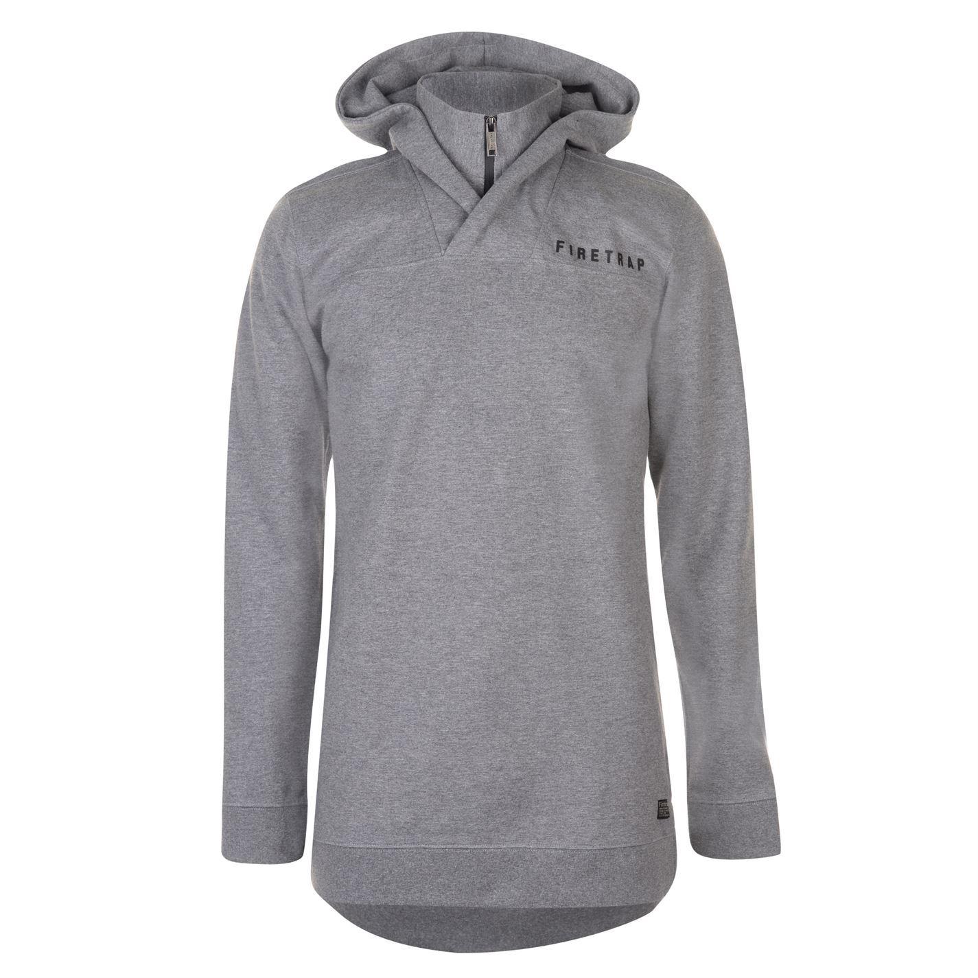 38a84038d ... Firetrap Interlock Longline Pullover Hoody Mens Charcoal Grey Hoodie  Sweatshirt ...