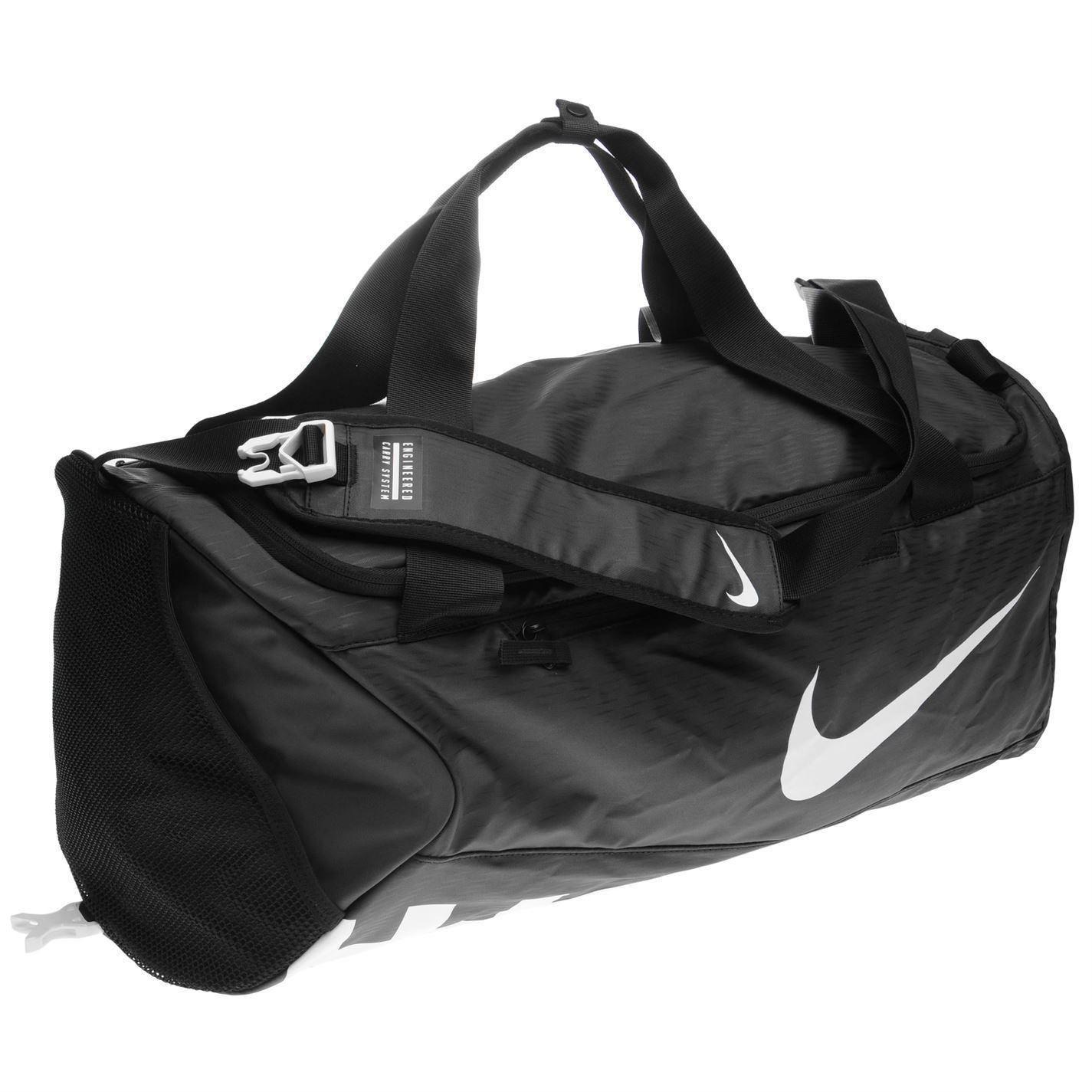 ... Nike Alpha Small Duffel Bag Black White Sports Gym Bag Holdall Carryall  ... fc78fe8d92453