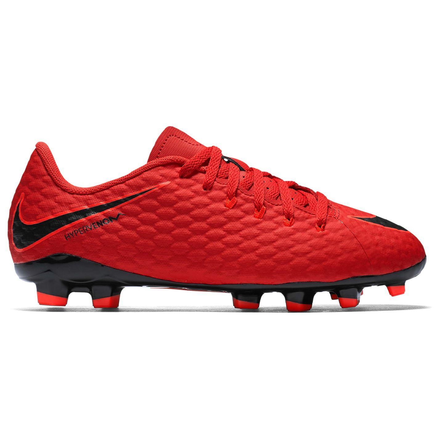 68946cb6 Nike Hypervenom Phelon FG Firm Ground Football Boots Juniors Red Soccer  Cleats