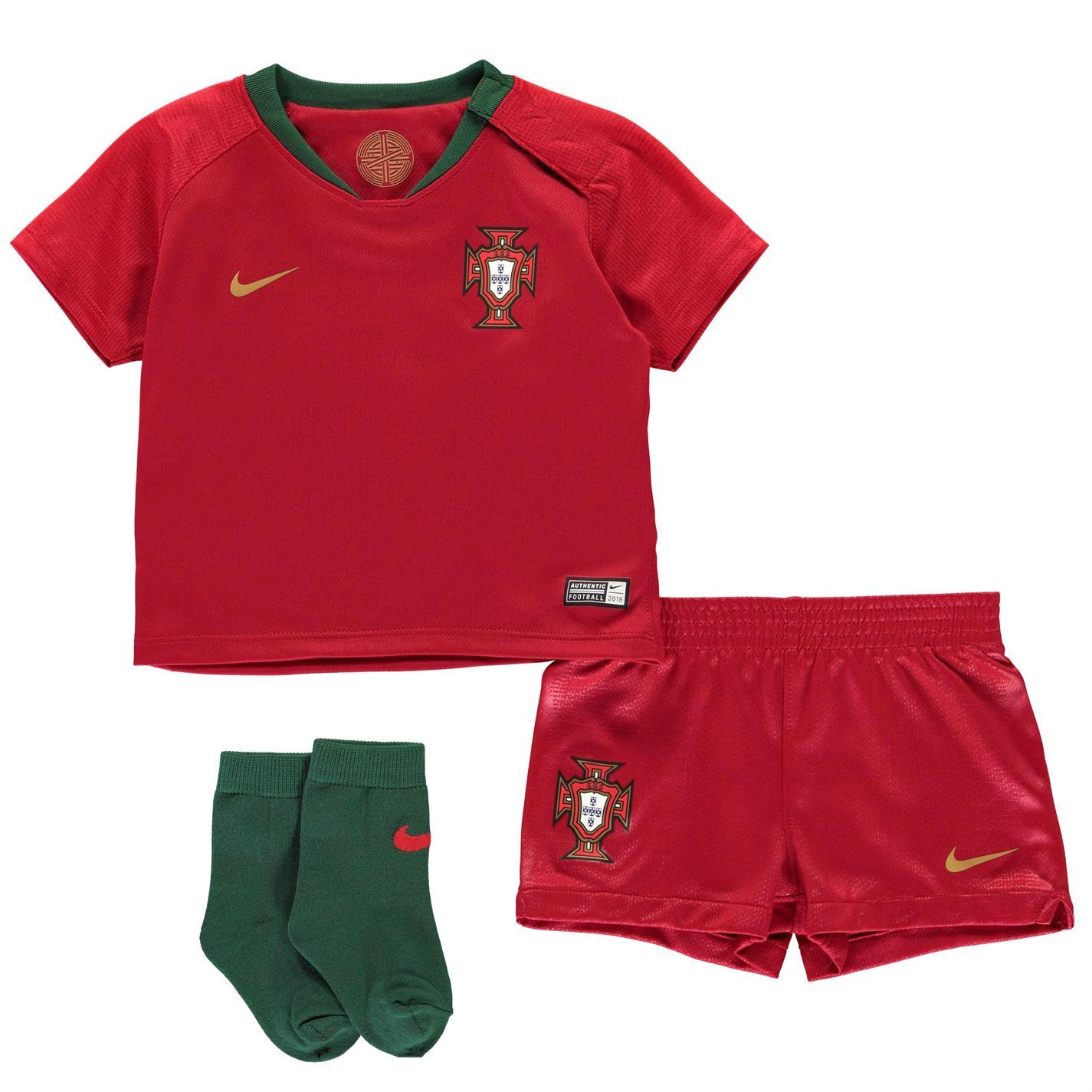 9e109d93e ... Nike Portugal Home Baby Kit 2018 Infants Red Football Soccer Top Shirt  Strip ...