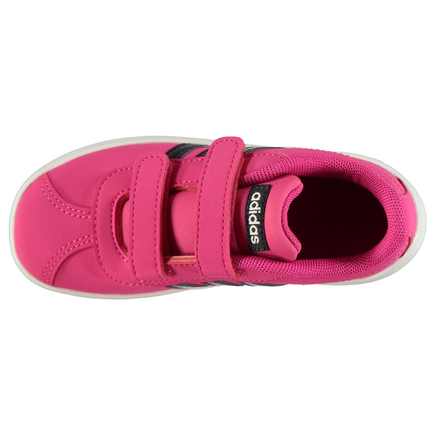 sneakers for cheap dccf9 bce72 ... adidas VL Court 2.0 Infant Girls Trainers Pink Black White Shoes  Footwear
