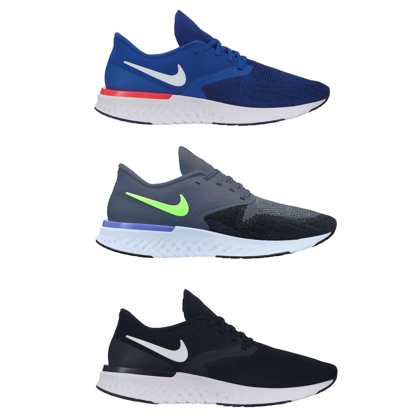 Nike Odyssey React 2 Flyknit Running Shoes Black White Oreo AH1015-100 Men/'s NEW