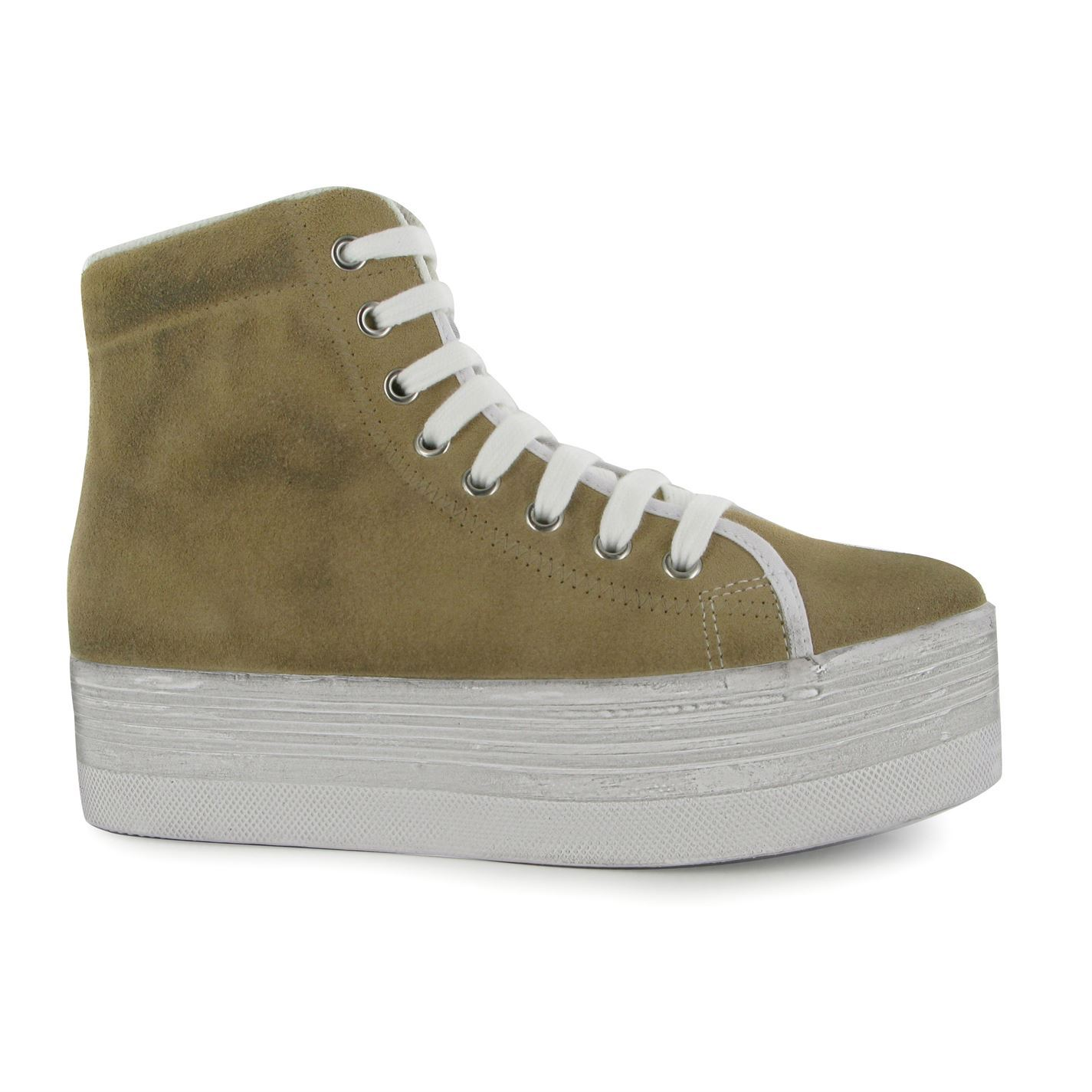 Jeffrey Campbell hOMG Hi Tops Platform shoes Womens Sand White Trainers Sneakers