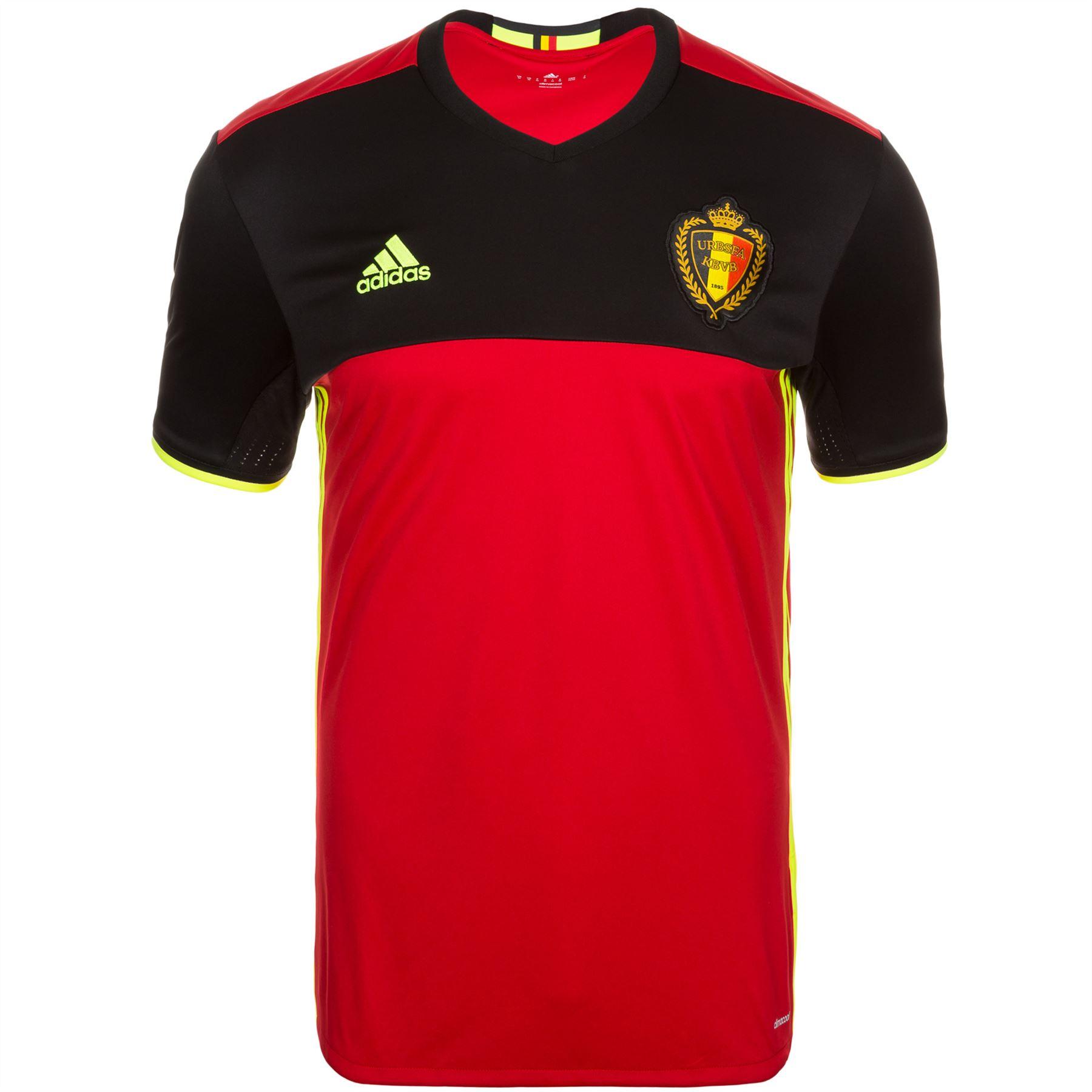 d445d8a34 ... adidas Belgium RBFA Home Jersey 2016 Mens Red/Black Football Soccer  Shirt Top ...