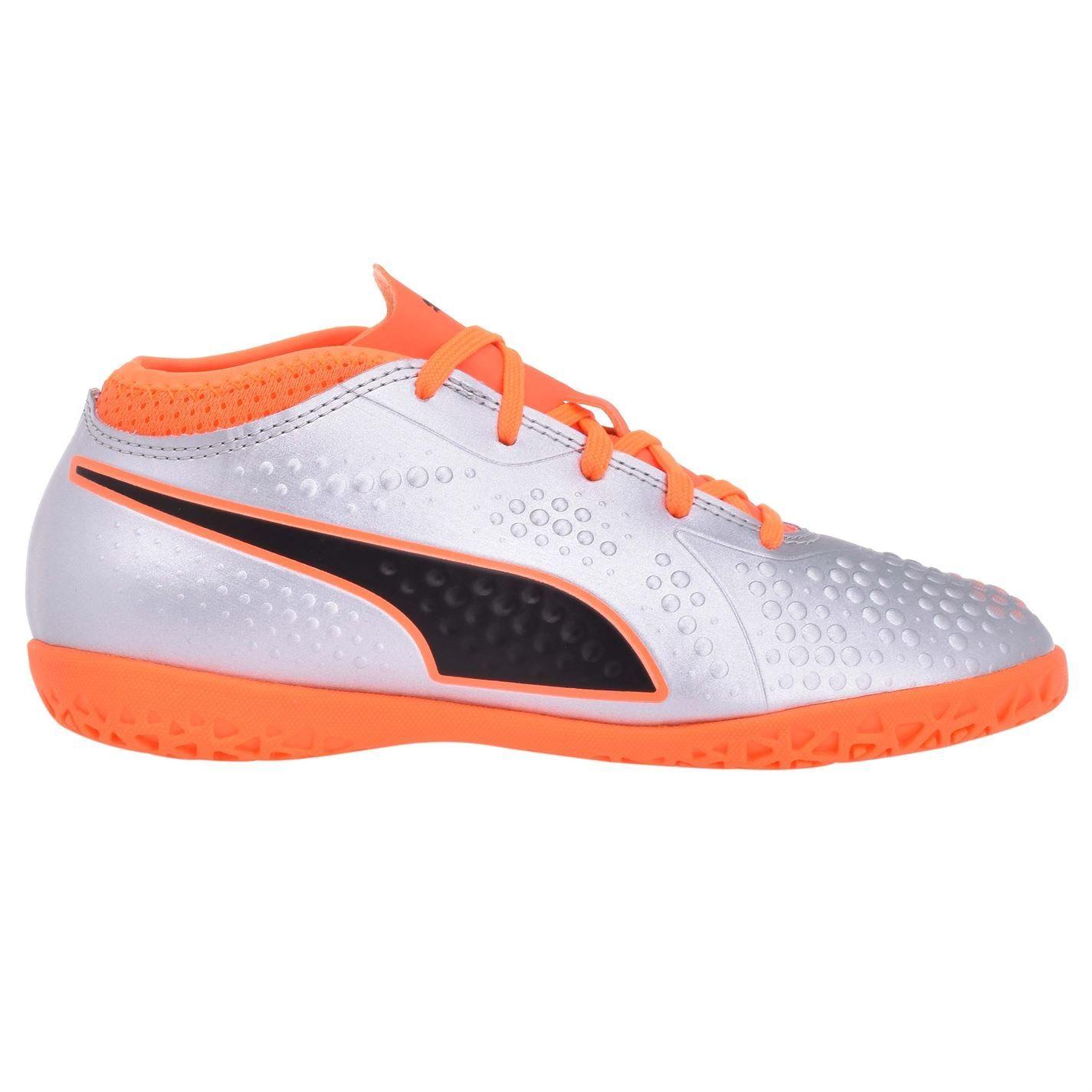 heroína brumoso Desafío  Puma ONE 4 Juniors Indoor Futsal Football Boots Boys Silver/Orange Soccer |  eBay