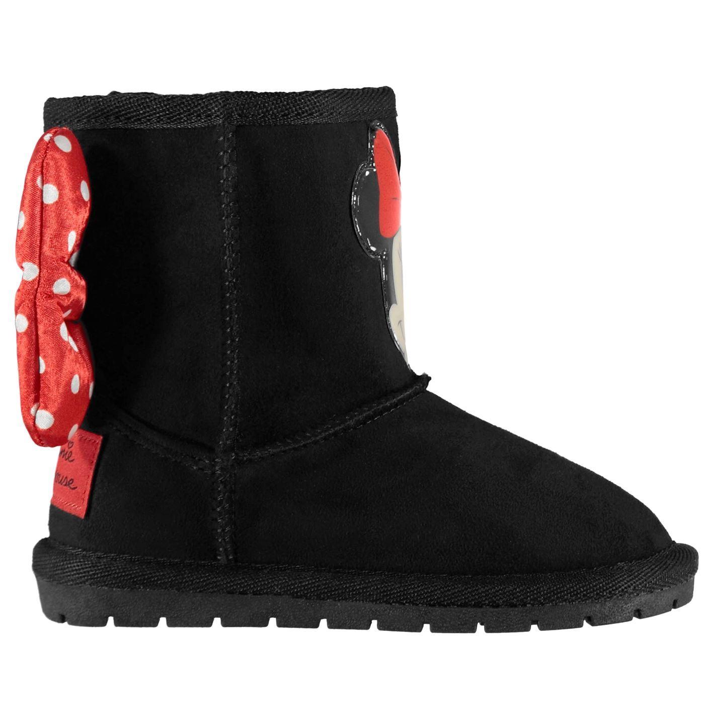 sortie en ligne grand assortiment prix compétitif Détails sur Minnie Mouse Hug Snug Bottes Fille Enfant Rouge/Noir Chaussures