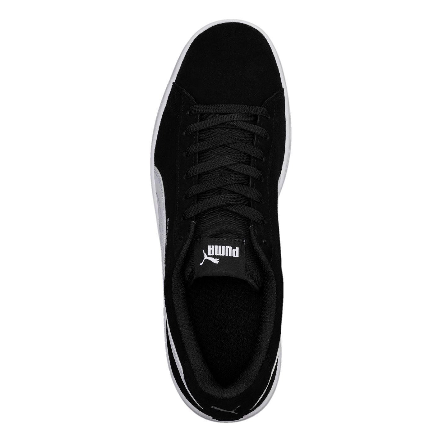 Detalles de Puma Smash V2 ante Zapatillas de Hombre NegroBlanco Informal Calzado Zapatillas