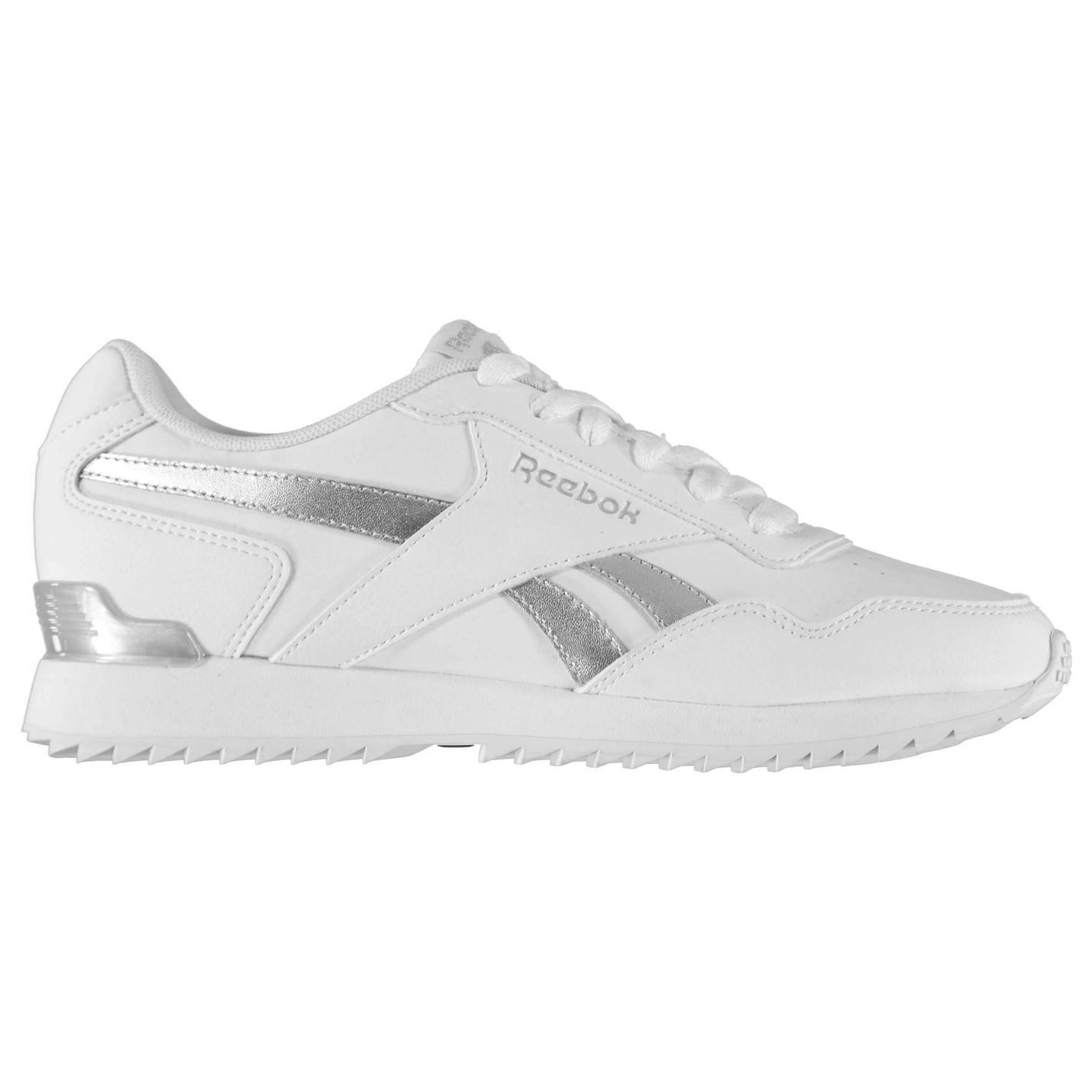 5ac50fdf4264bc Details about Reebok Royal Glide Ripple Clip Trainers Womens White Silver  Trainers Sneakers