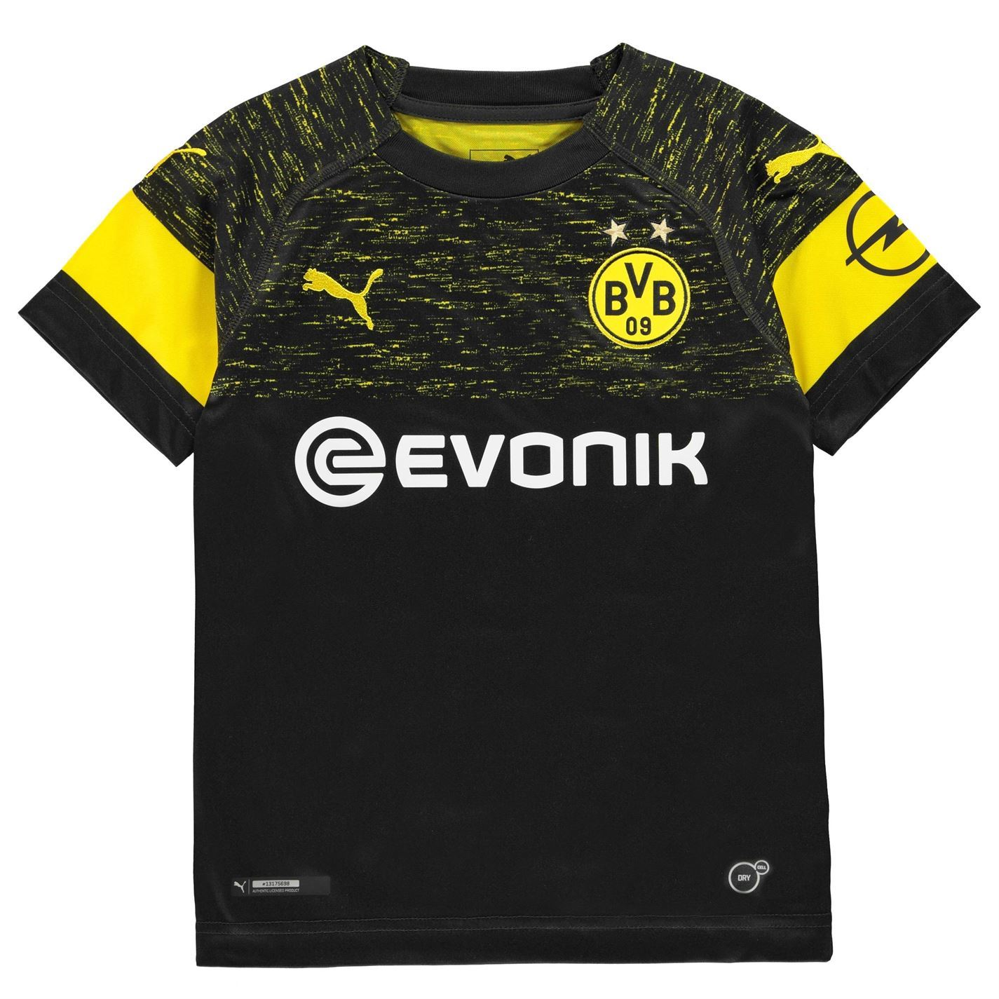 new style 6c4b6 7cf58 Details about Puma Borussia Dortmund Away Jersey 2018 2019 Juniors Black  Football Soccer Shirt