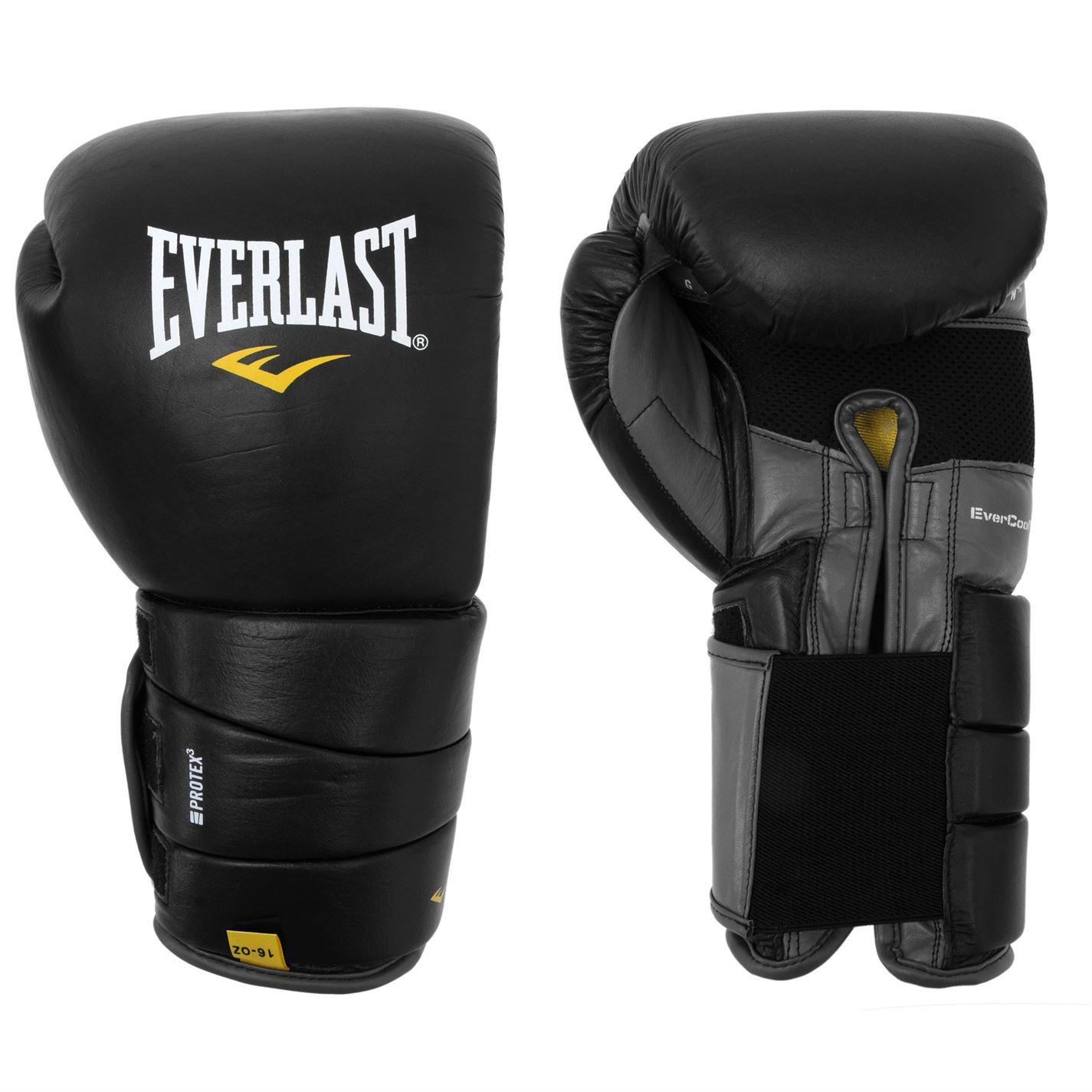 Everlast Protex 3 Gel Boxing Gloves Black Gym Fitness Bag Sparring Gloves