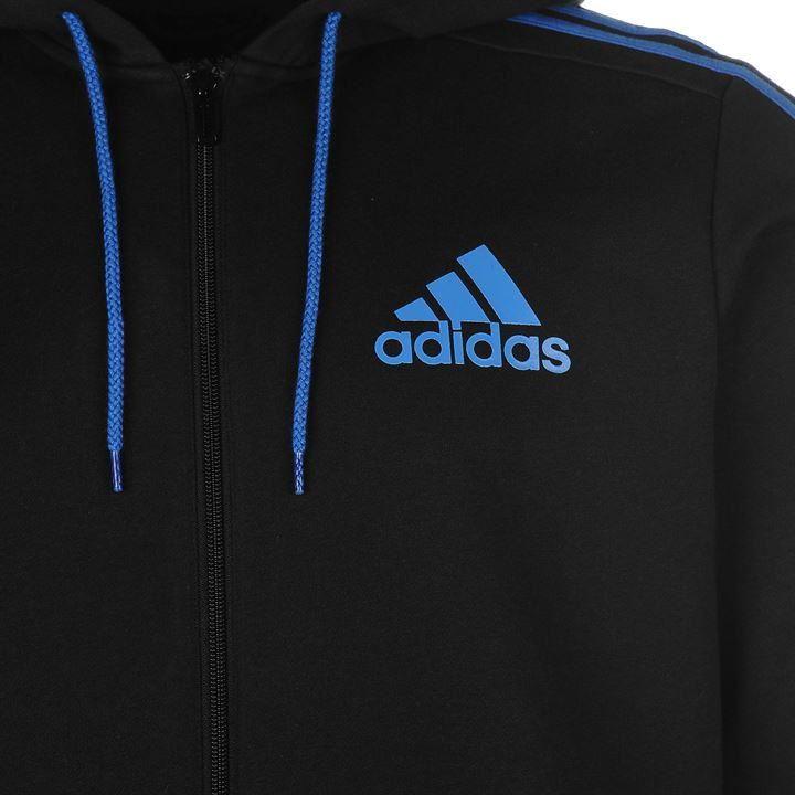 Details about adidas 3 Stripe Full Zip Hoody Mens Black/Blue Hoodie Jacket  Top Sportswear