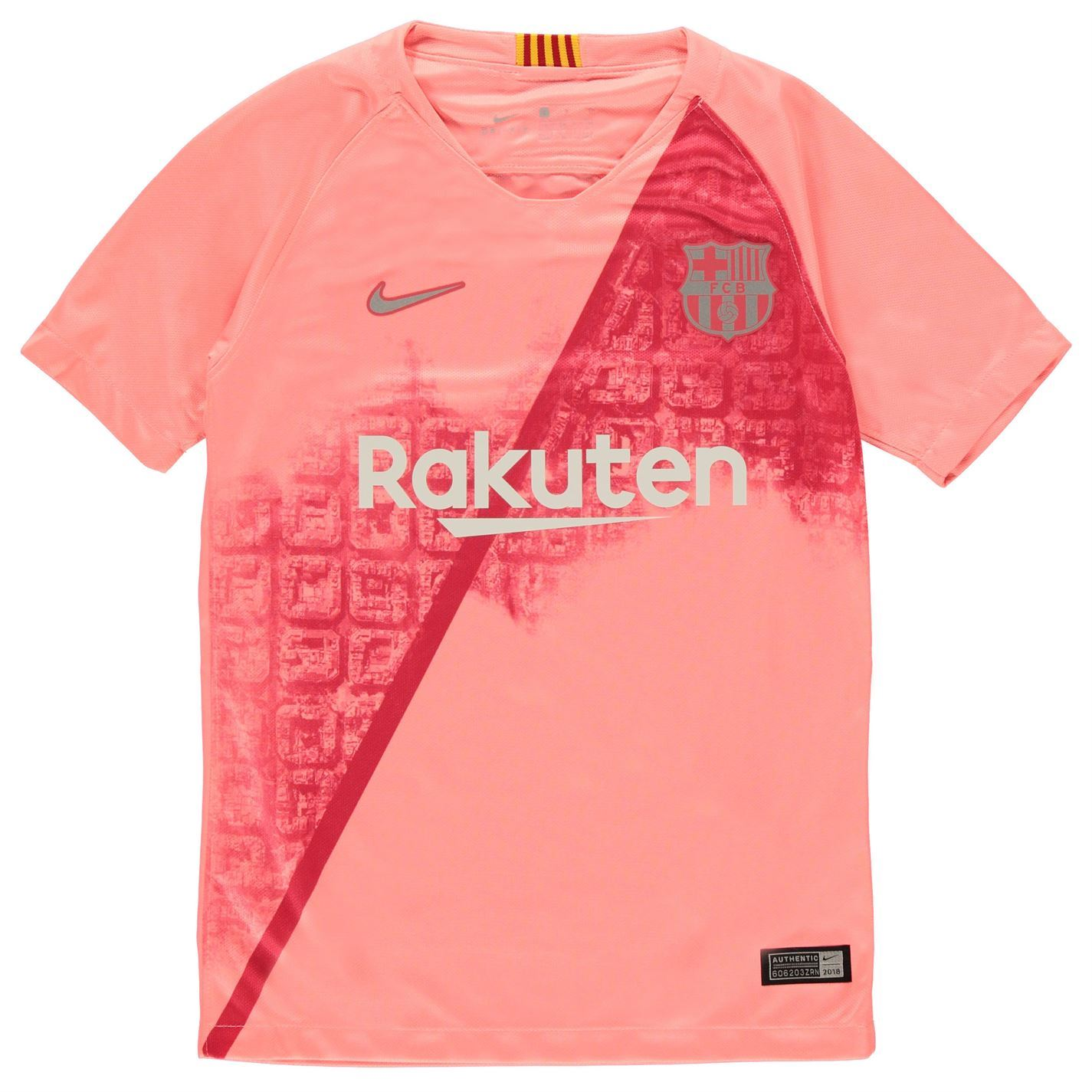 on sale 013a9 c05a0 Details about Nike Barcelona Third Jersey 2018 2019 Juniors Pink/Silver  Football Soccer Shirt