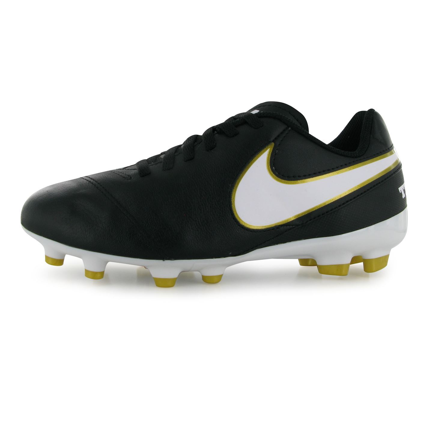 5f4c81f60 Nike Tiempo Legend Firm Ground Football Boots Juniors Soccer Shoes Black  White