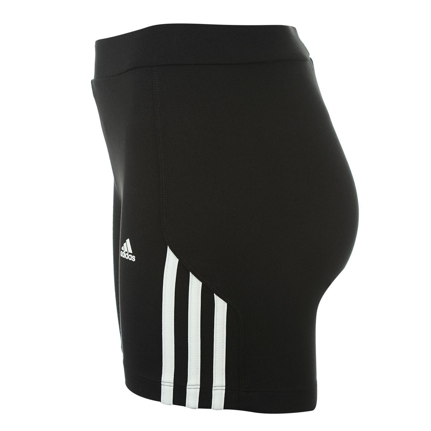 meet f030f ed6f1 ... Adidas 3 Stripe Gym Fitness Tight Shorts Womens Black White Sport  Exercise Short ...