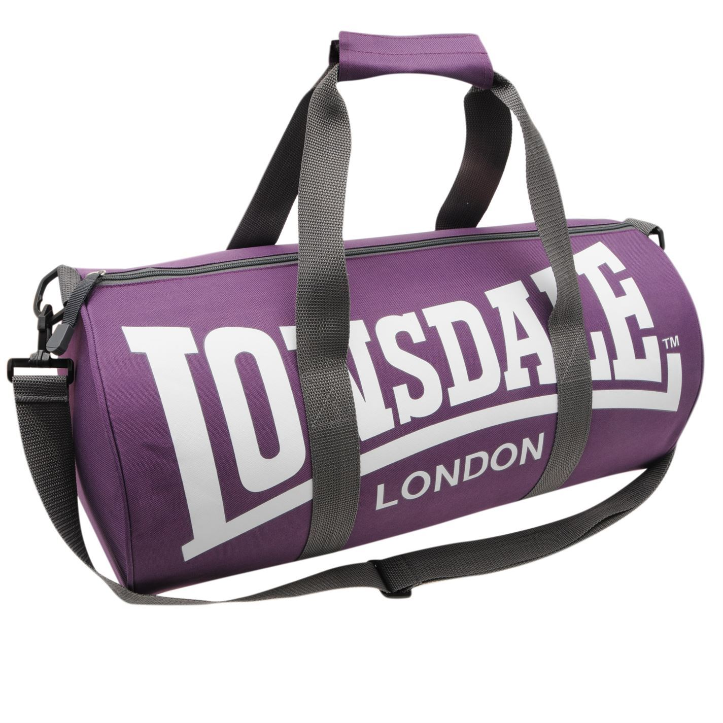 Details about Lonsdale Barrel Bag Purple Grey Sports Kit Holdall Carryall  Gymbag 62a17a2209591