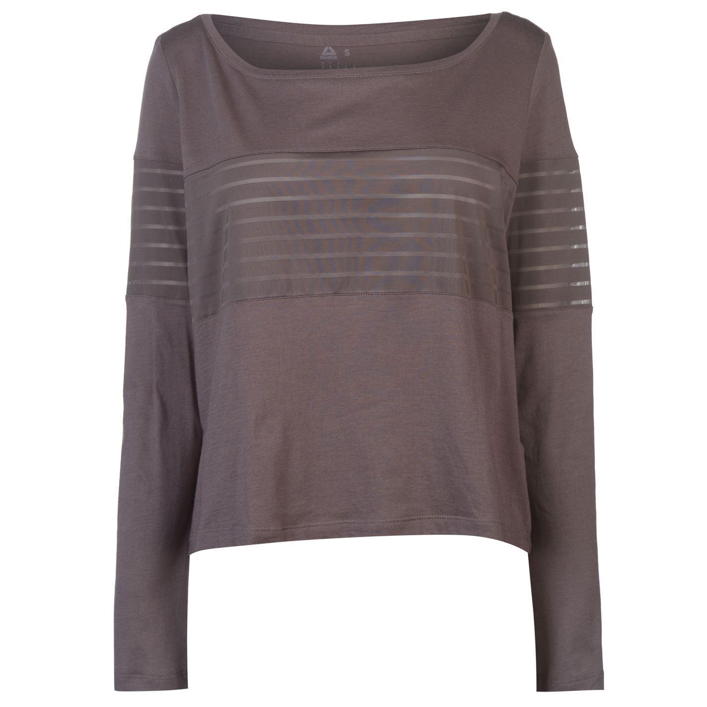 Dettagli su Reebok Maglia Manica Lunga T Shirt da Donna Grigio Allenamento Fitness Maglietta