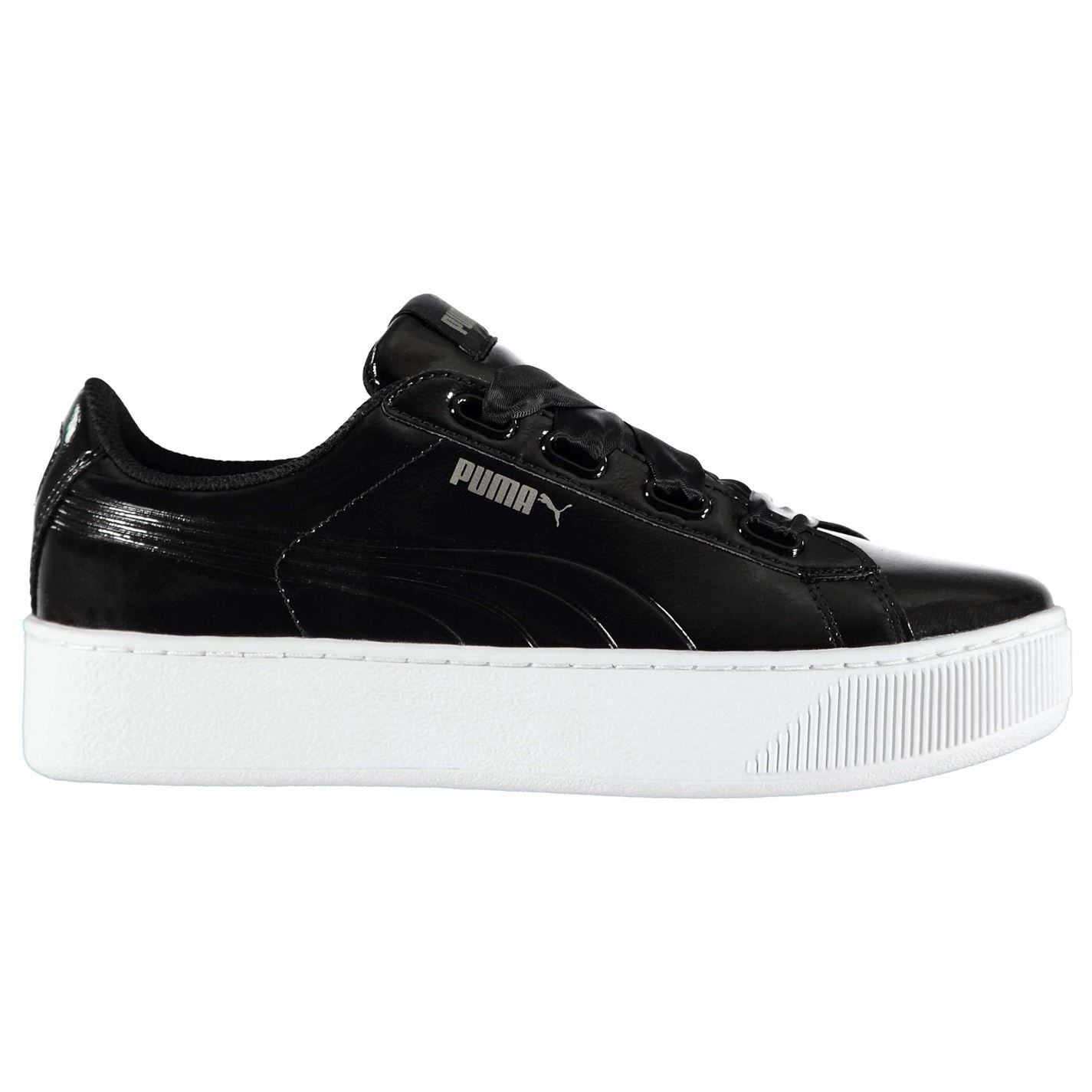 Details about Puma vikky women ribbon lace platforms leather low sneakers 364979 03 m13 show original title