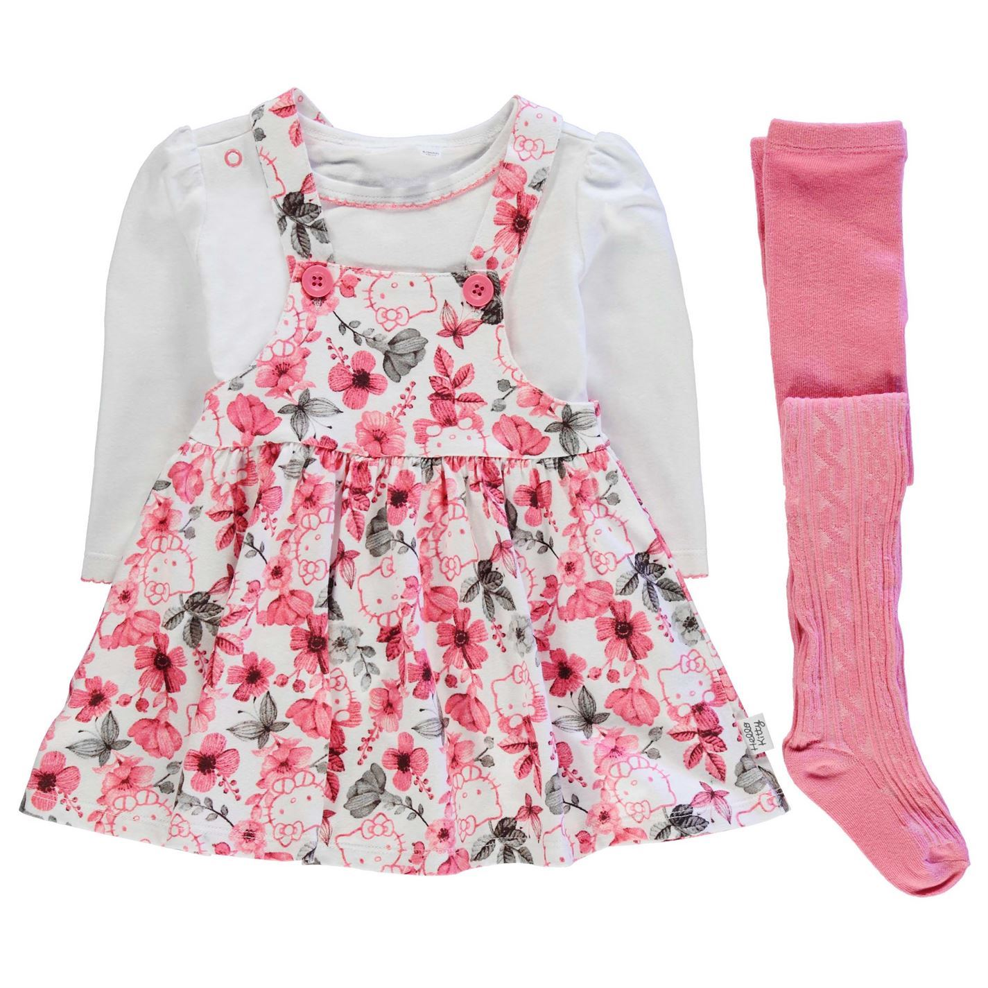 c01b09772 Hello Kitty 3 Piece Dress Set Baby Girls Pink White Clothes Set
