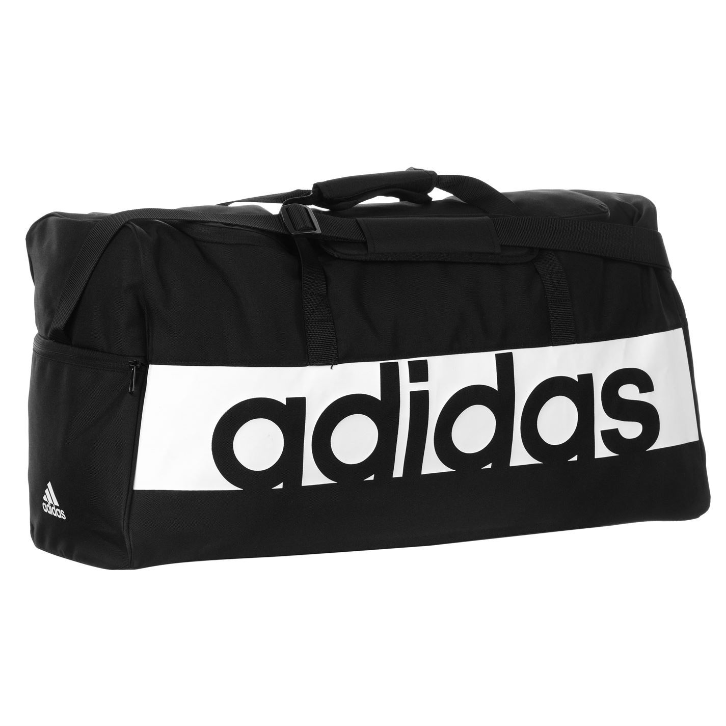 c7974ee601 adidas Linear Performance Duffel Bag Large Black White Sports Gym ...