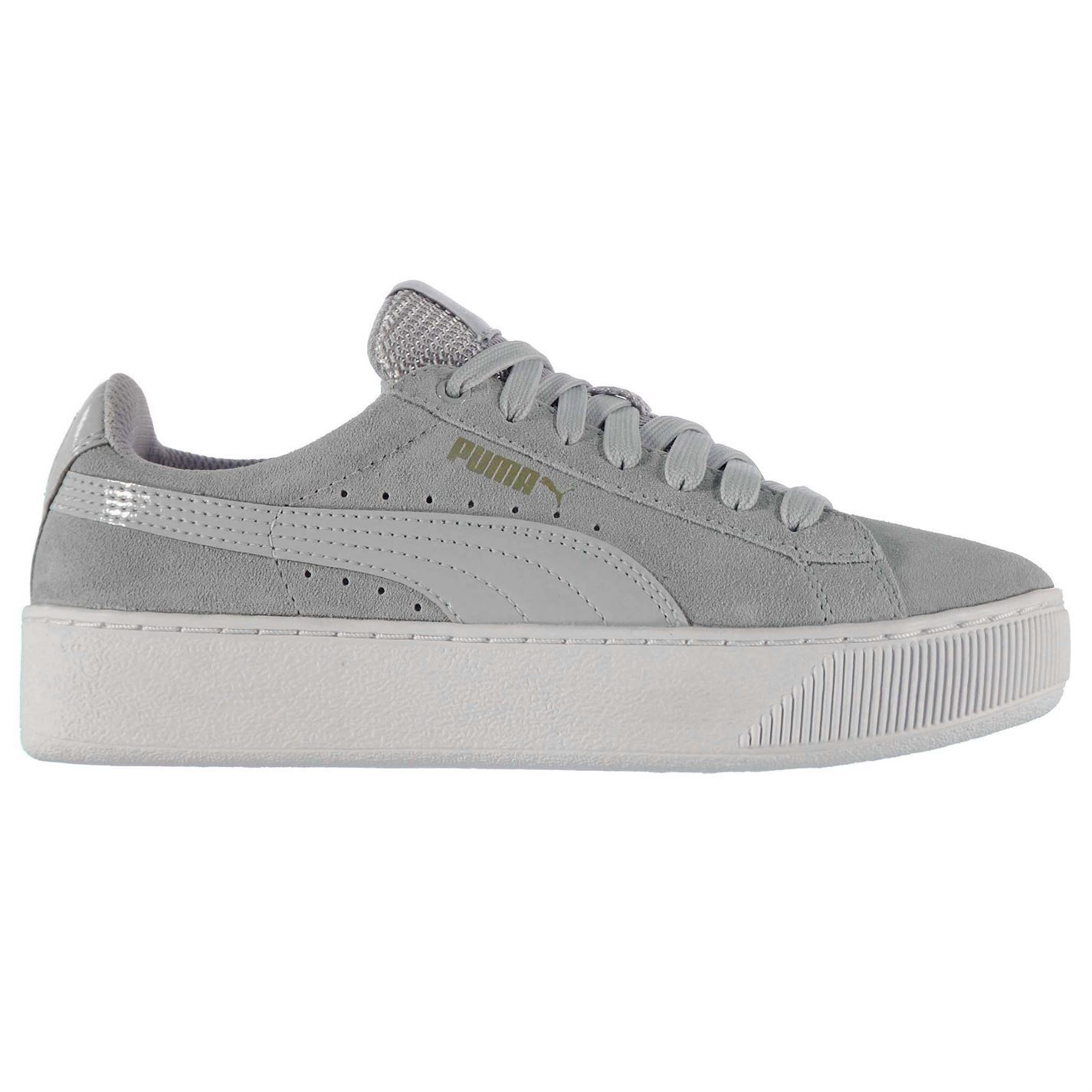 d43e2416e12a ... Puma Vikky Platform Trainers Womens Grey Violet Casual Sneakers Shoes  Footwear ...