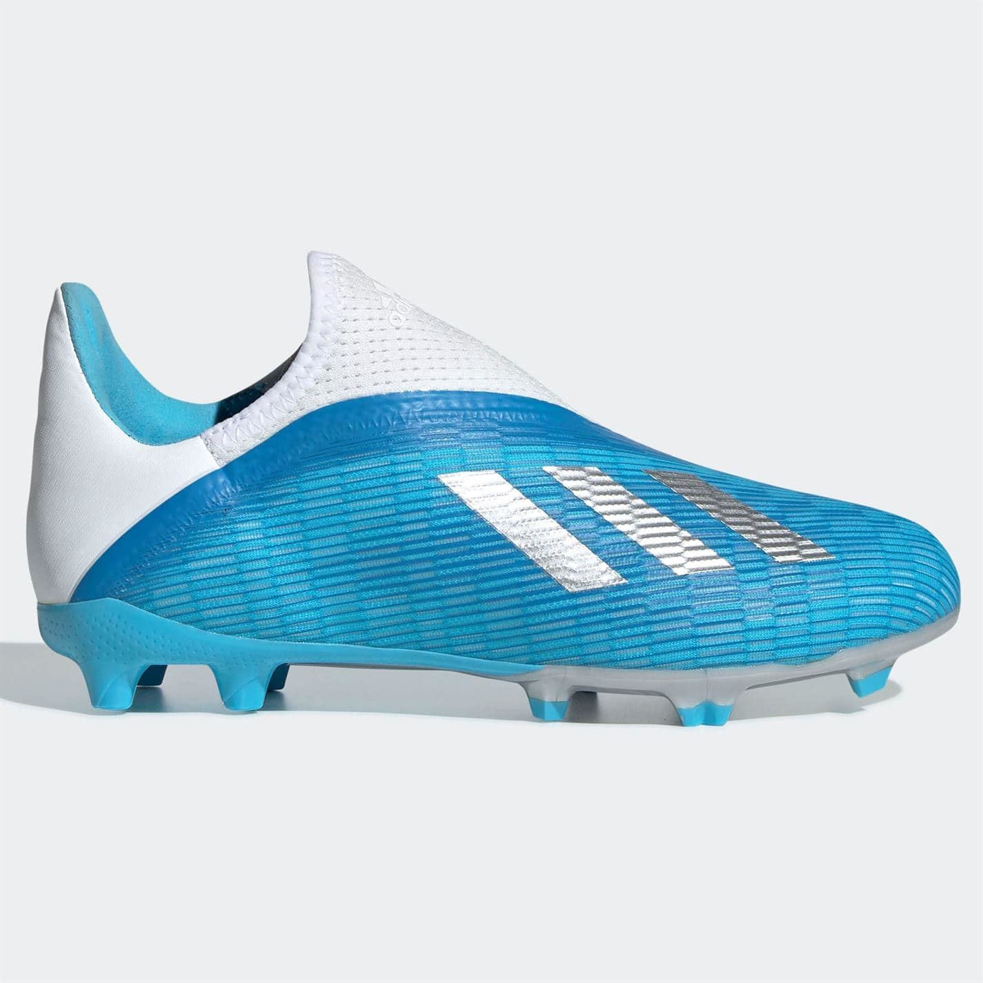 Details about adidas X 19.3 Laceless s FG Football Boots Child Boys  Cyan/Black Footwear