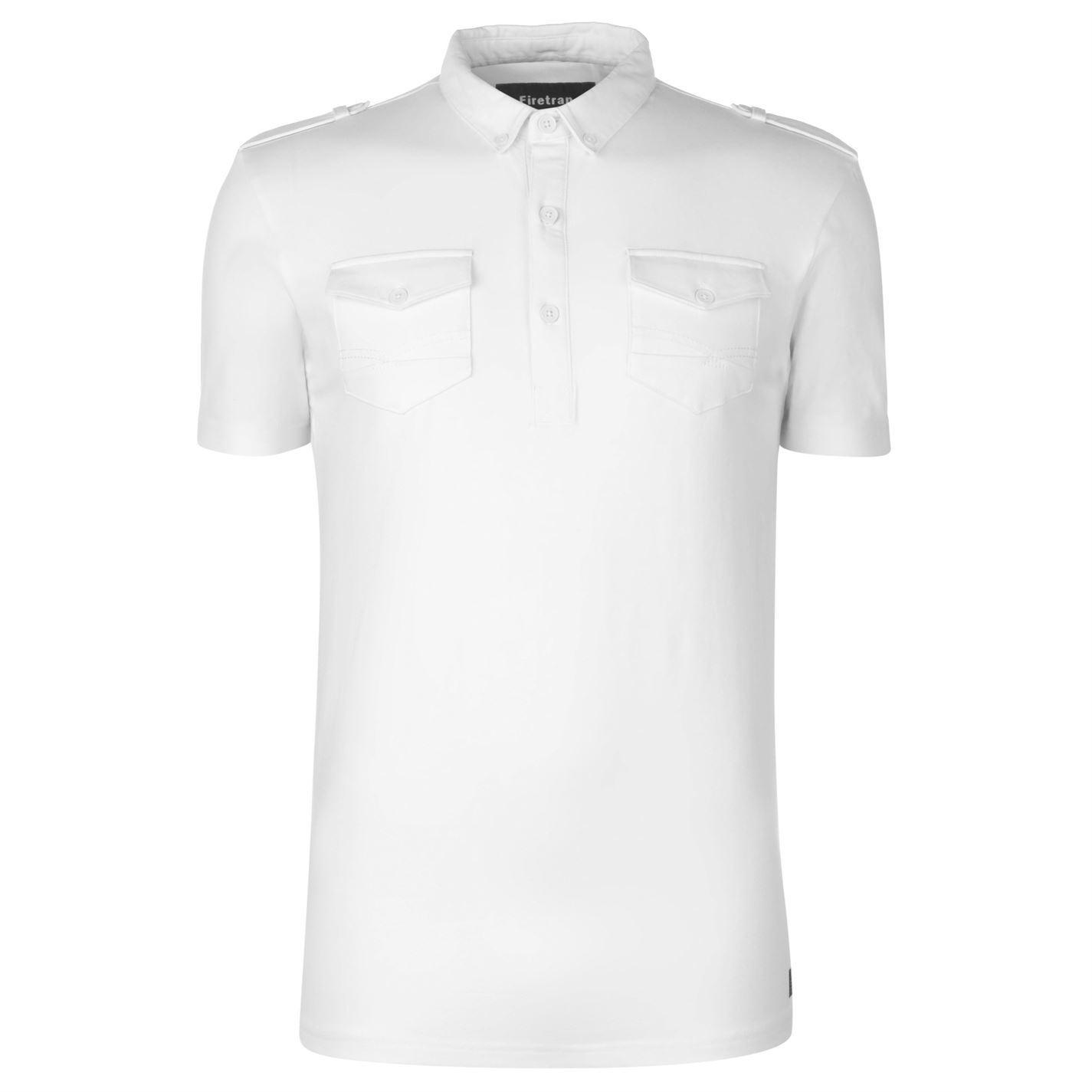 thumbnail 11 - Firetrap-Double-Pocket-Polo-Shirt-Mens-Collar-Top-Tee-Black-Medium