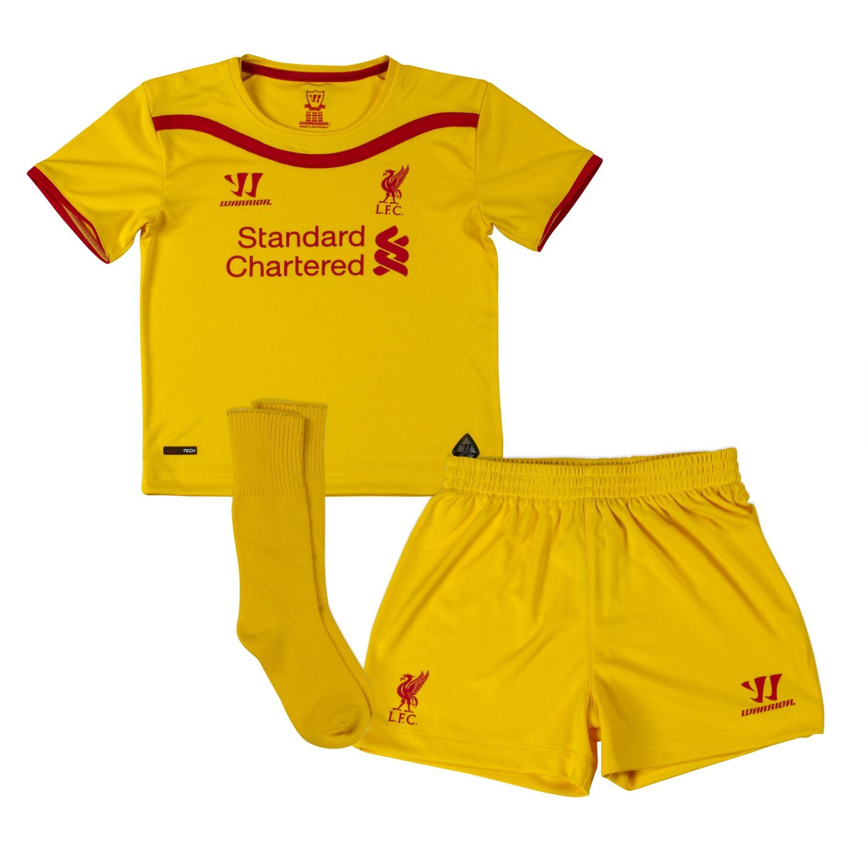 dab073157d3 ... Warrior Liverpool FC Away Mini Kit 2014 2015 Infants Yellow Football  Soccer Baby ...