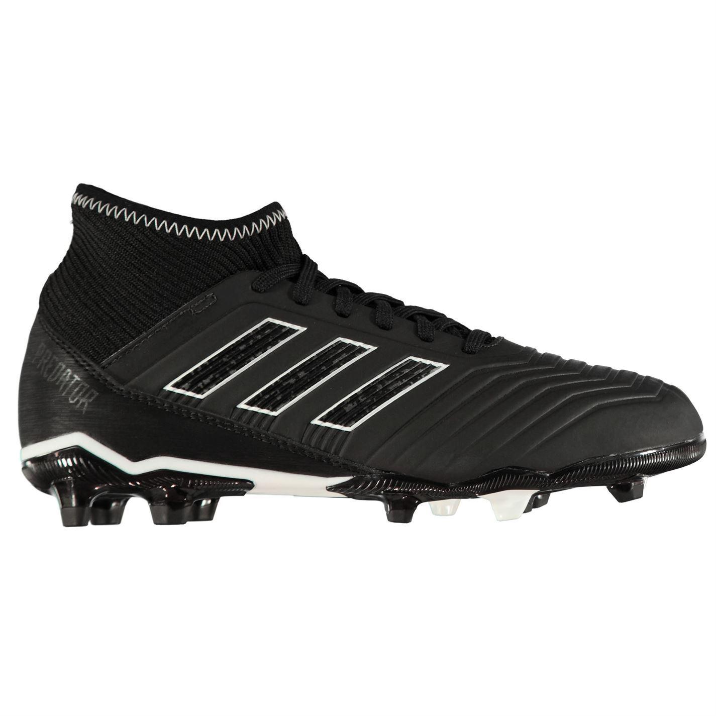 ... adidas Predator 18.3 Firm Ground FG Football Boots Childs Black Soccer  Cleats ... 2cb2ae4c203d8