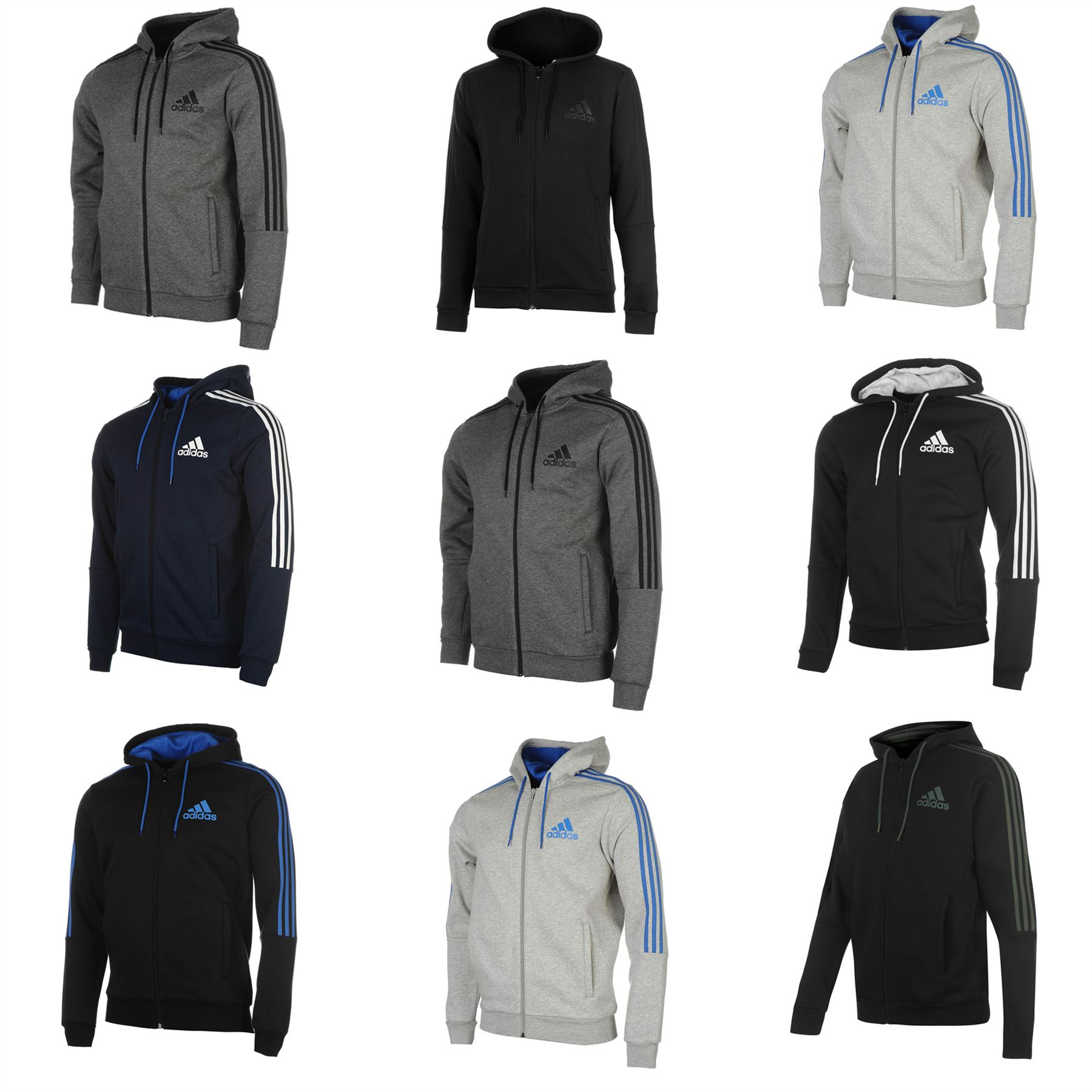 Details about adidas 3 Stripes Full Zip Hoody Jacket Mens Hoodie Sweatshirt  Sweater Hooded Top