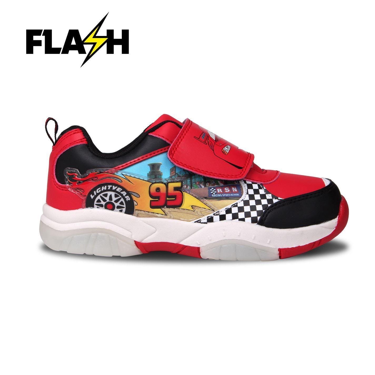 Détails sur Disney Cars Clair dessus Flash Baskets RougeNoir Chaussures