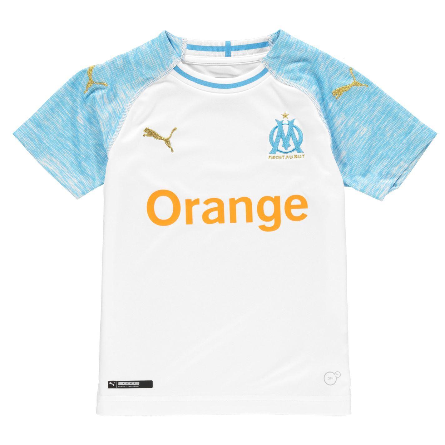 e06aa6aad18 ... Puma Marseille Home Jersey 2018 2019 Juniors White Blue Football Soccer  Shirt ...
