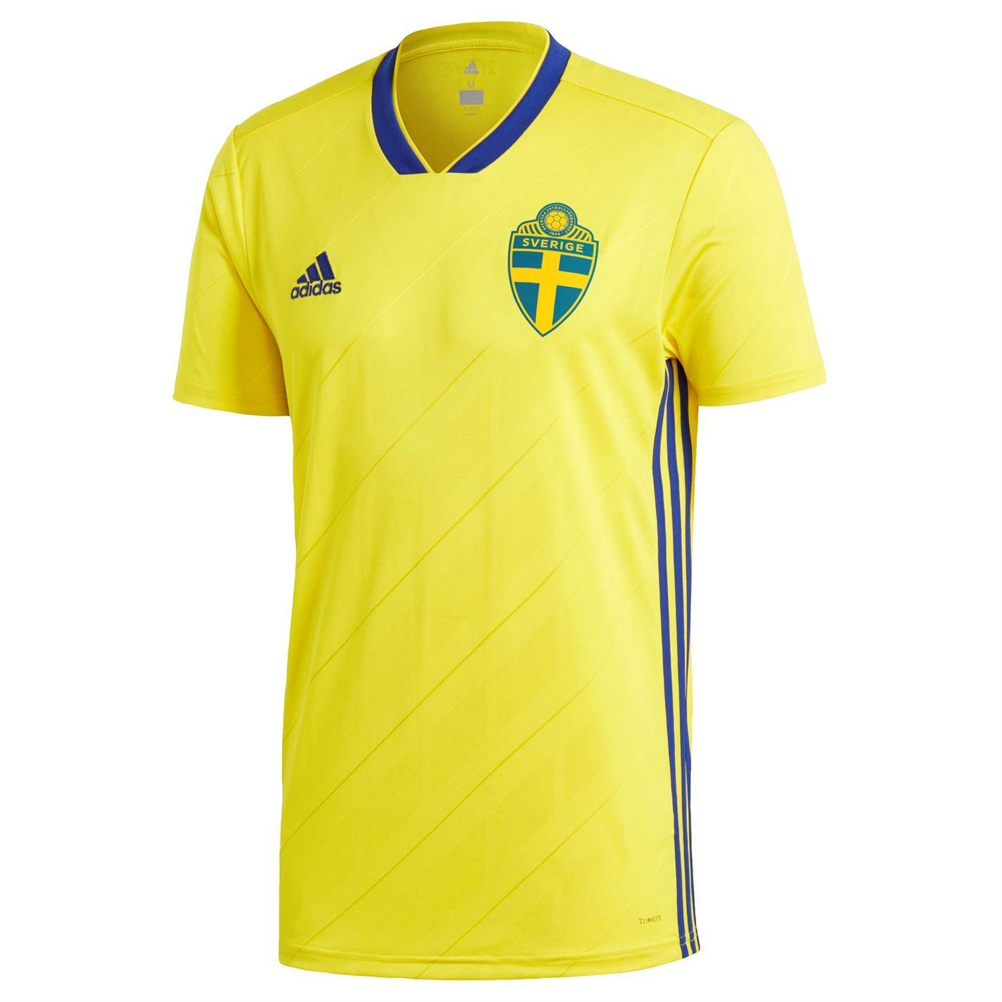 ... adidas Sweden Home Jersey 2018 Juniors Yellow Football Soccer Top Shirt  Strip ... ac3981d76