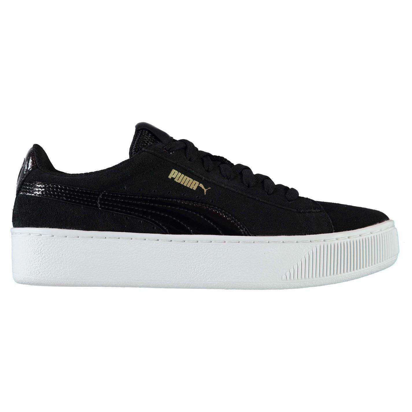 ... Puma Vikky Platform Trainers Womens Black Wht Sports Trainers Sneakers  ... 48b6dabde62