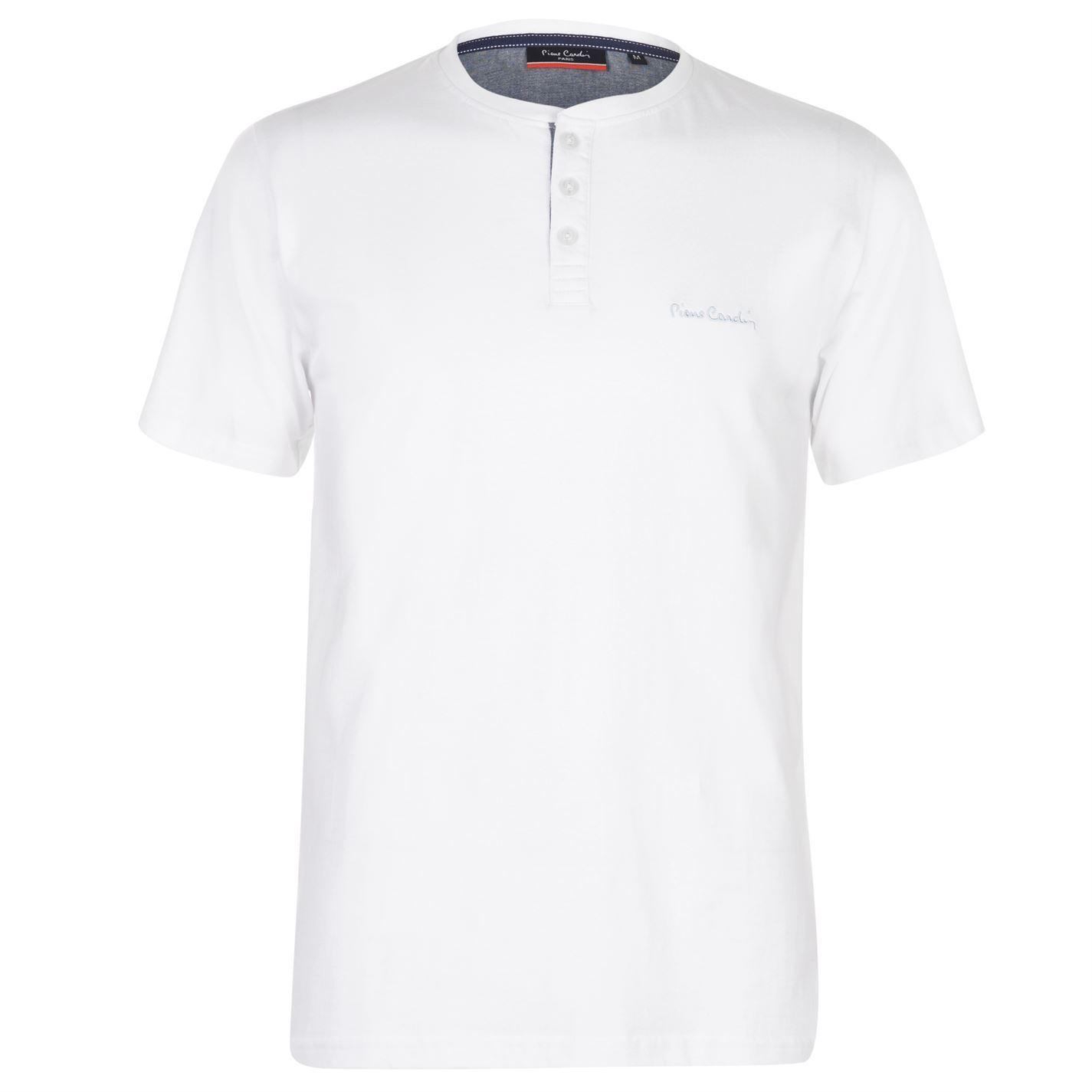 eba1806a ... Pierre Cardin Contrast Henley T-Shirt Mens White Tee Shirt Tshirt Top  ...
