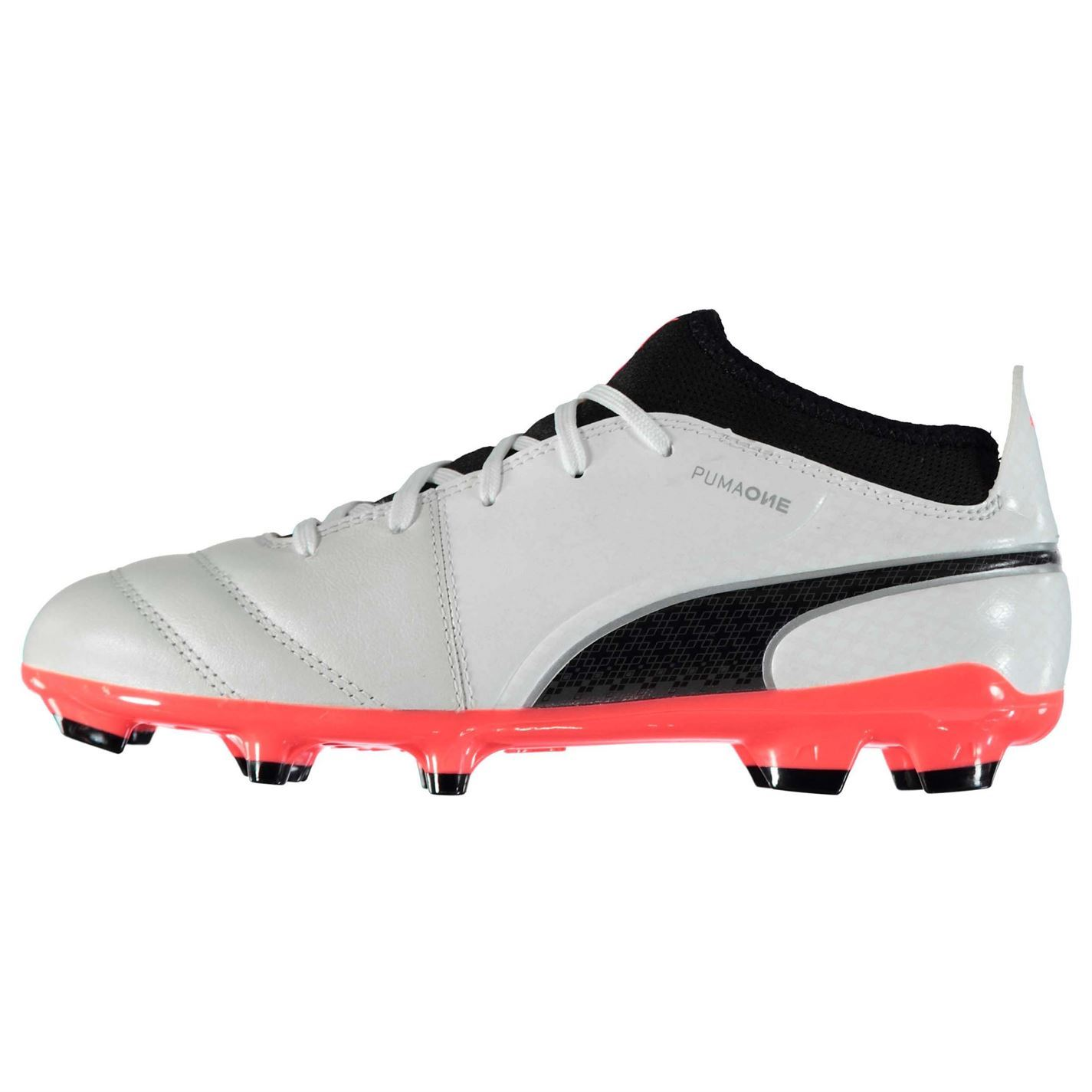 406b86f1a ... Puma One 17.3 FG Firm Ground Football Boots Childs White Coral Soccer  Cleats ...
