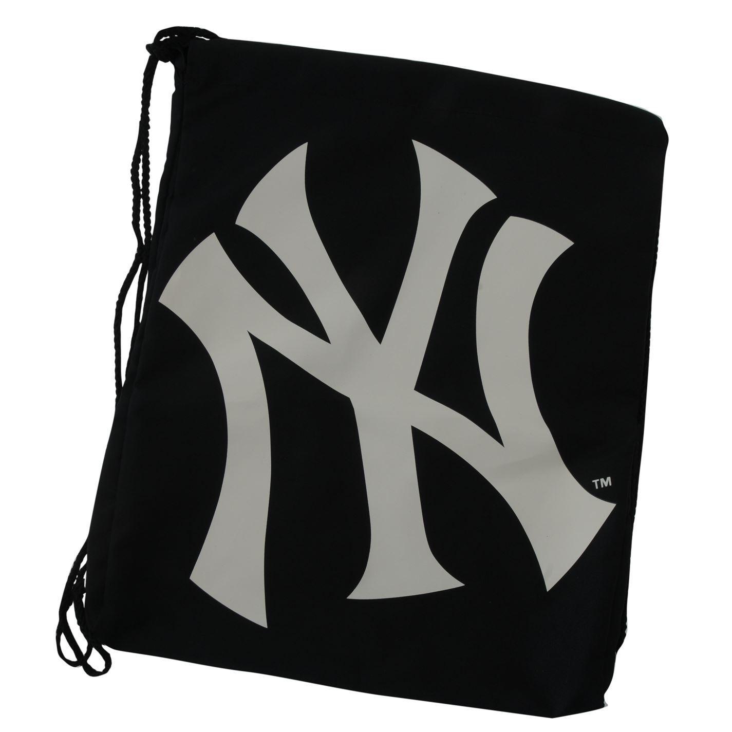 New York Yankees Drawstring Gym Bag Black White School PE Sports Kit Sack