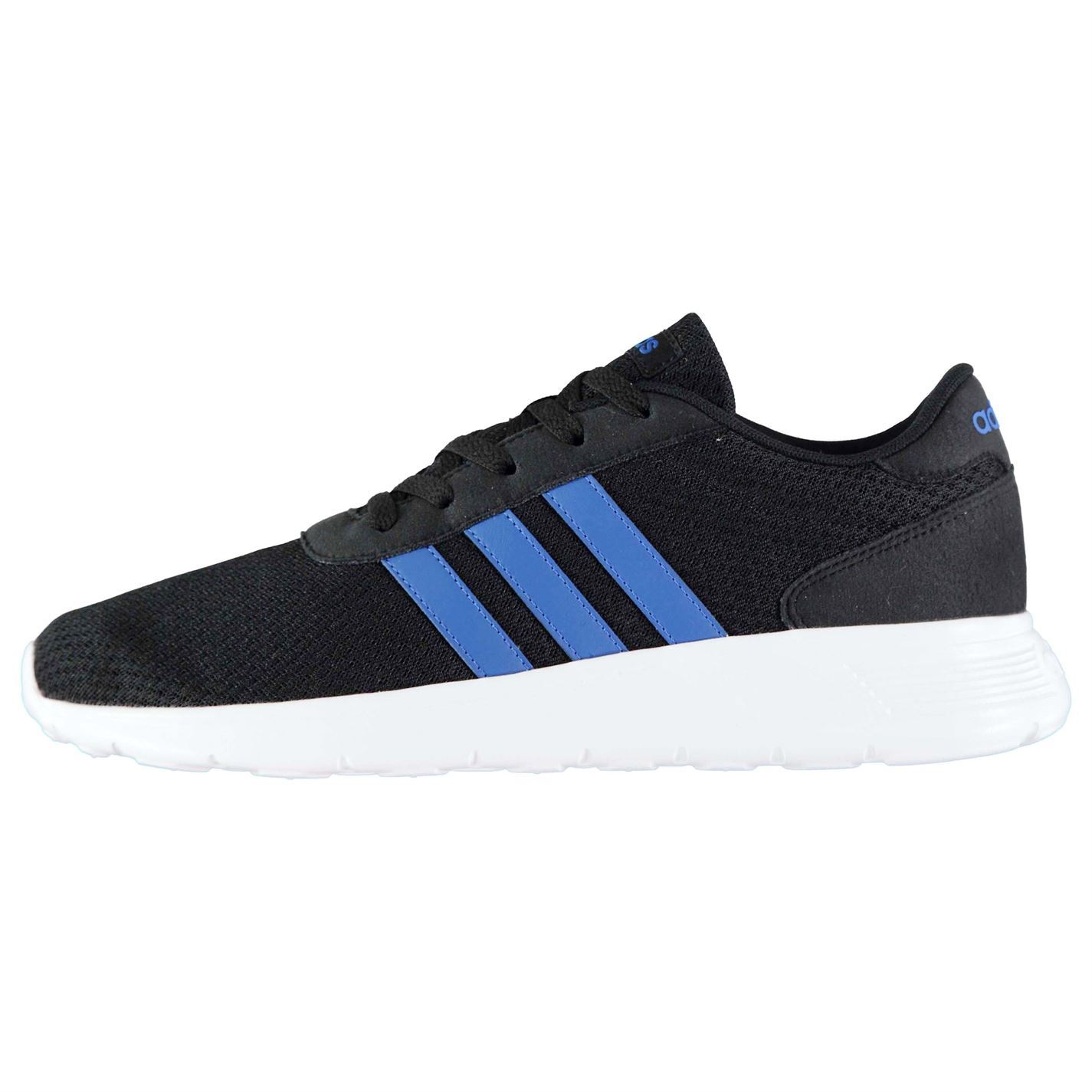 adidas Lite Racer Trainers Mens Black Blue White Athletic Sneakers Shoes af973179e