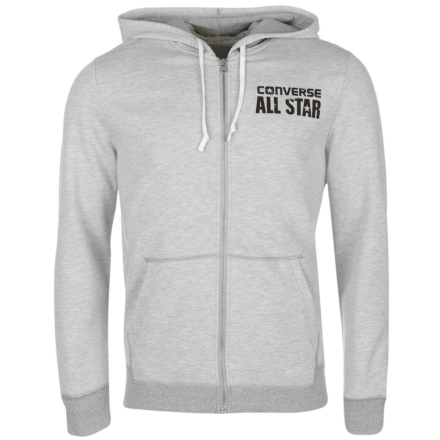 5eeae100901e ... Converse All Star Full Zip Hoody Jacket Mens Grey Hoodie Sweatshirt  Sweater Top ...