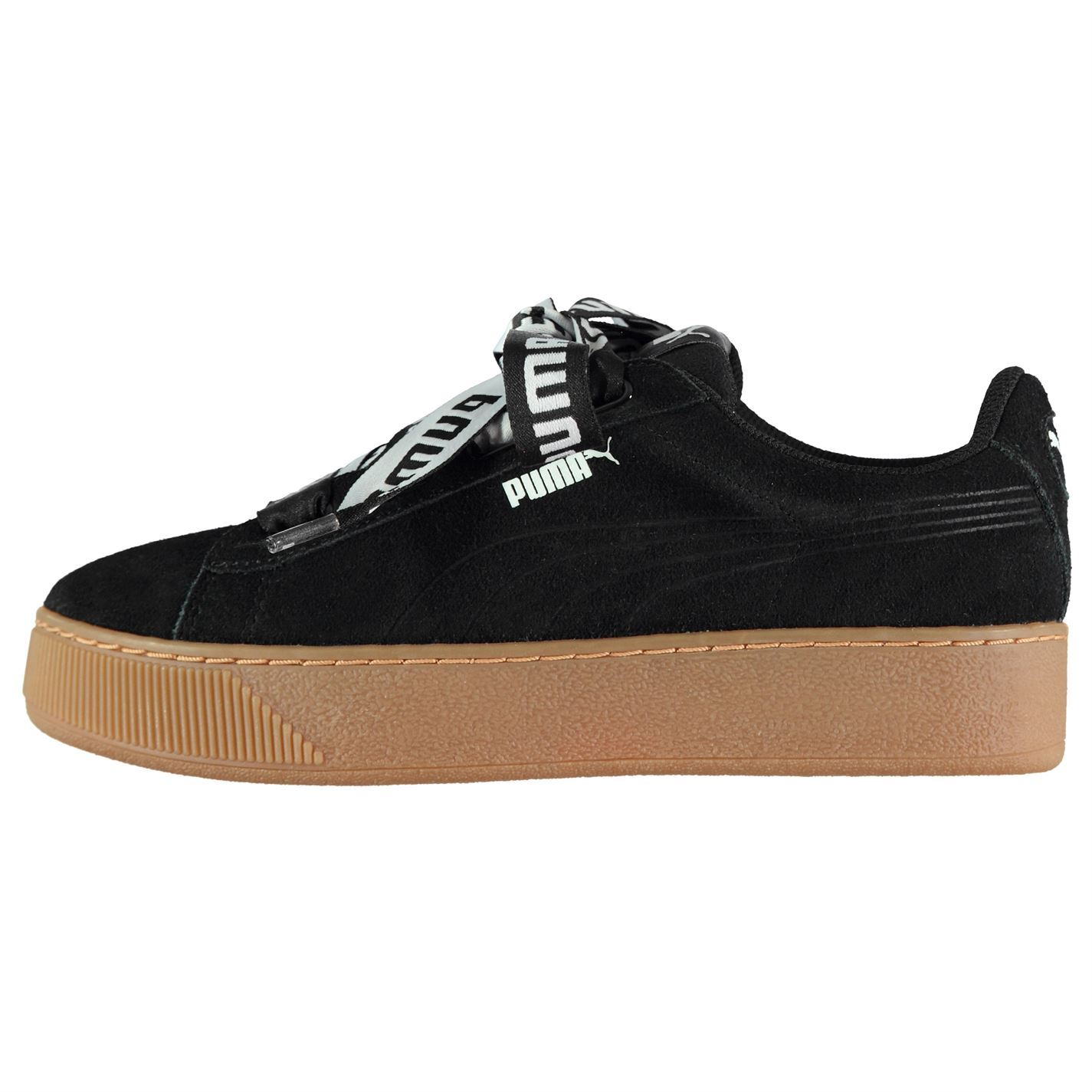 puma vikky platform ribbon trainers ladies