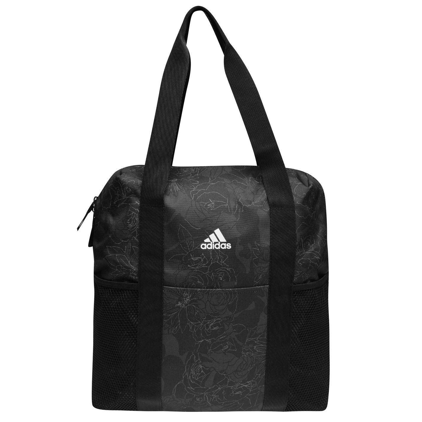 c010aec41ca9b Details about adidas Fav Floral Tote Bag Womens Black Grey Holdall Handbag  Shopper bag