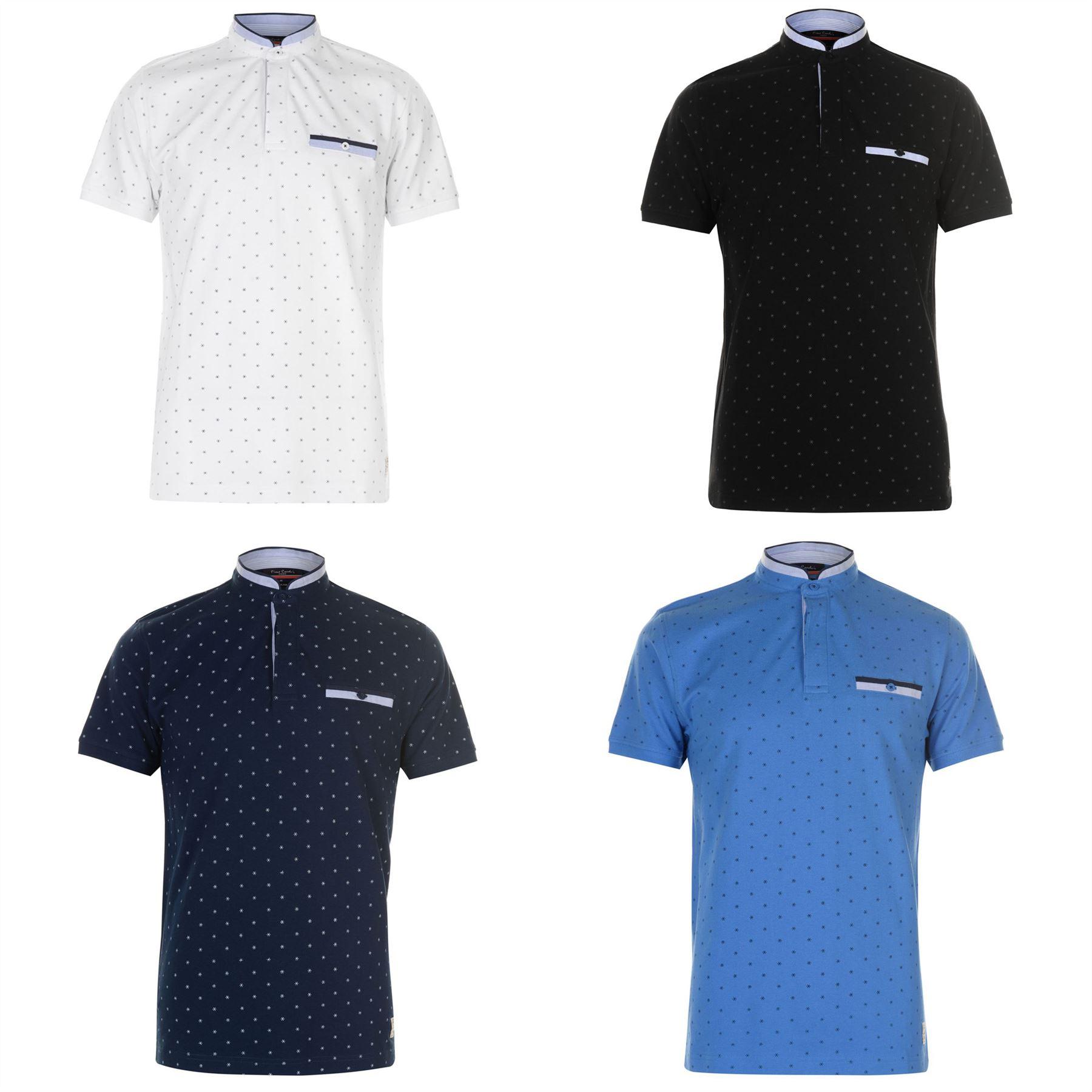 ca73b46117 ... Pierre Cardin Geometric Mandarin Collar Polo Shirt Mens Top Tee Casual  T-Shirt ...