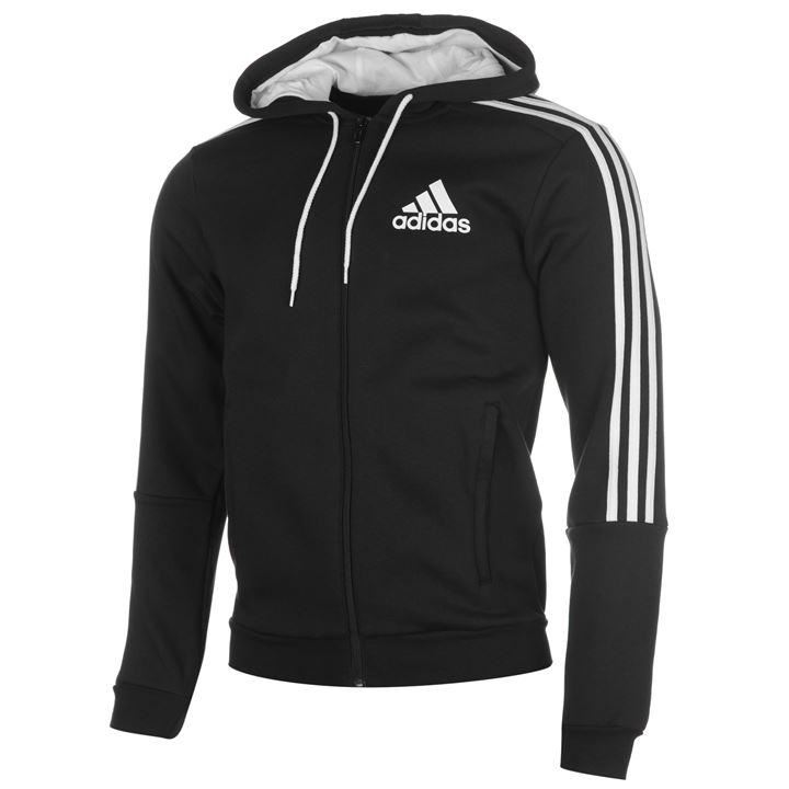 Adidas 3 stripe full zip hoody mens black white hoodie for Cheap football shirts sports direct